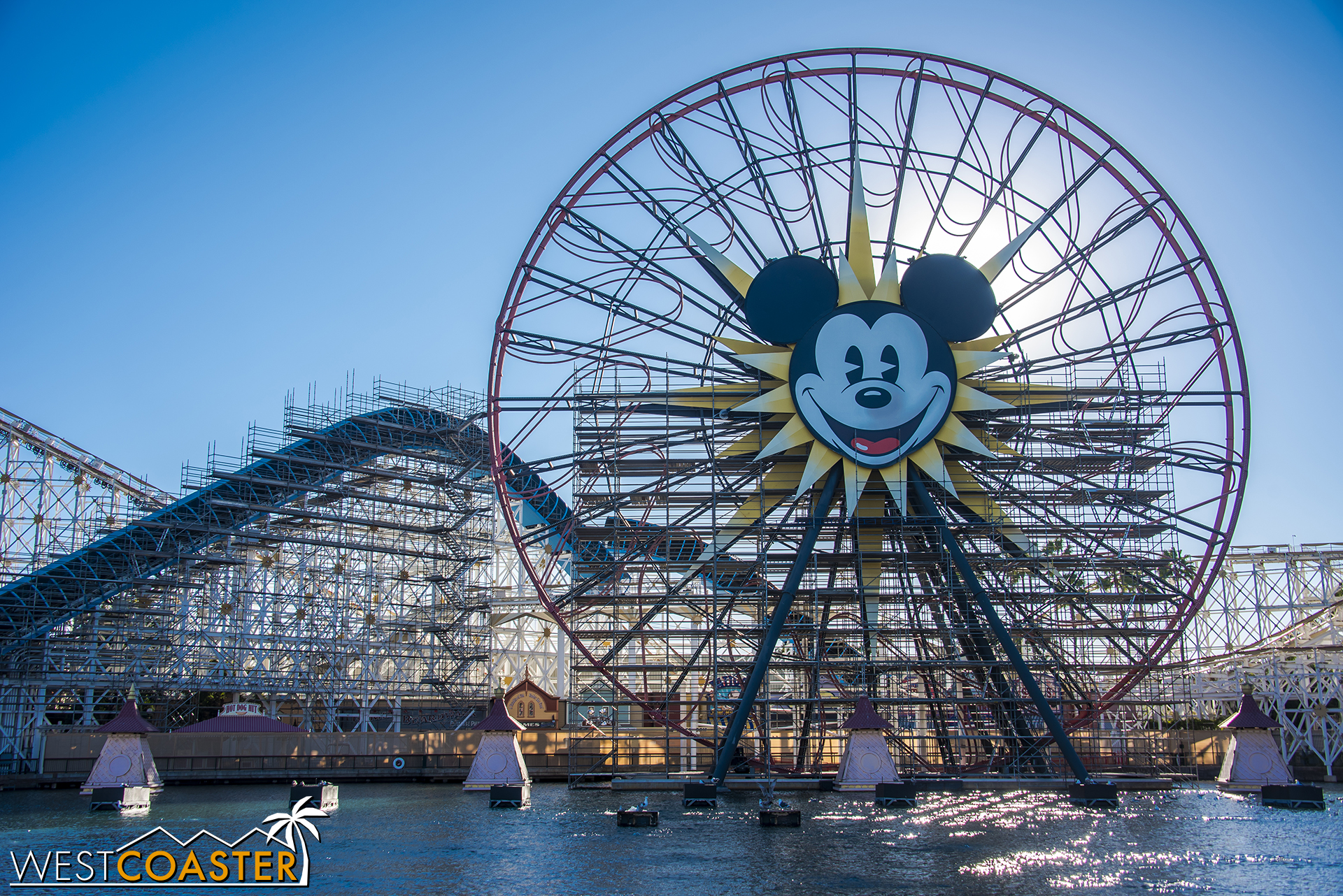 Mickey's Fun Wheel will be remarketed with Pixar characters and imagery. The ferris wheel carriages have already been removed for refurbishment and new graphics. Mickey's face will remain, however.
