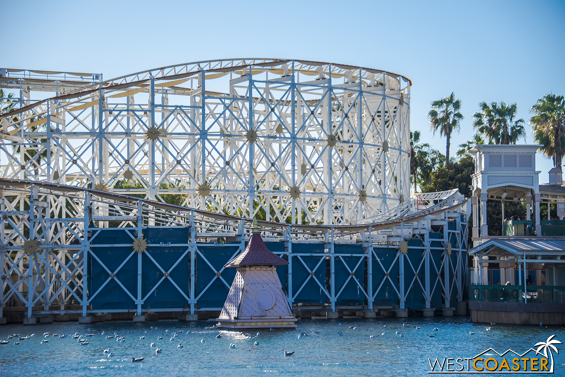 """The area of renovation extends to this far turnaround of Screamin'. Per Disney Park Blogs, this area will be the fourth of the four Pixar Pier """"neighborhoods,"""" to be devoted to the movie,  Inside Out . But the new attraction to be placed here will be announced and added at a later date."""