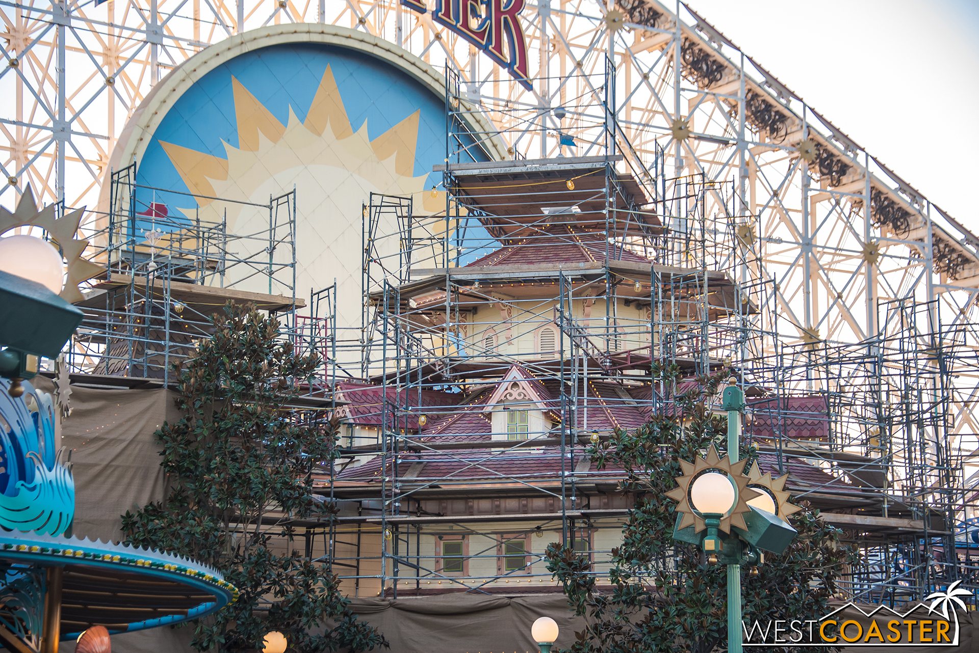 There's a ton of scaffolding around the Toy Story Midway Mania gift shop, which remains open during this construction.