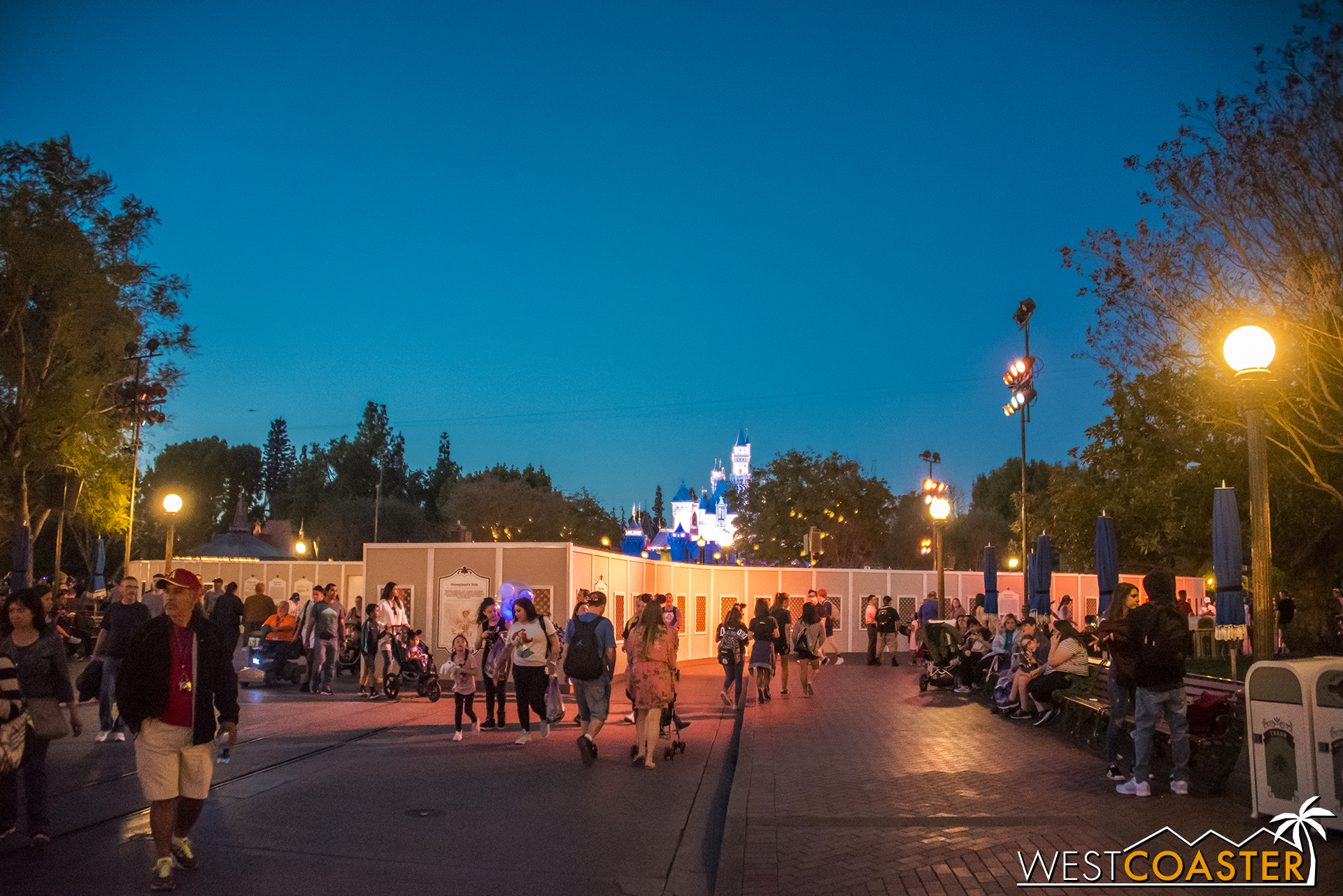 At the other end of Main Street, walls are up around The Hub too.