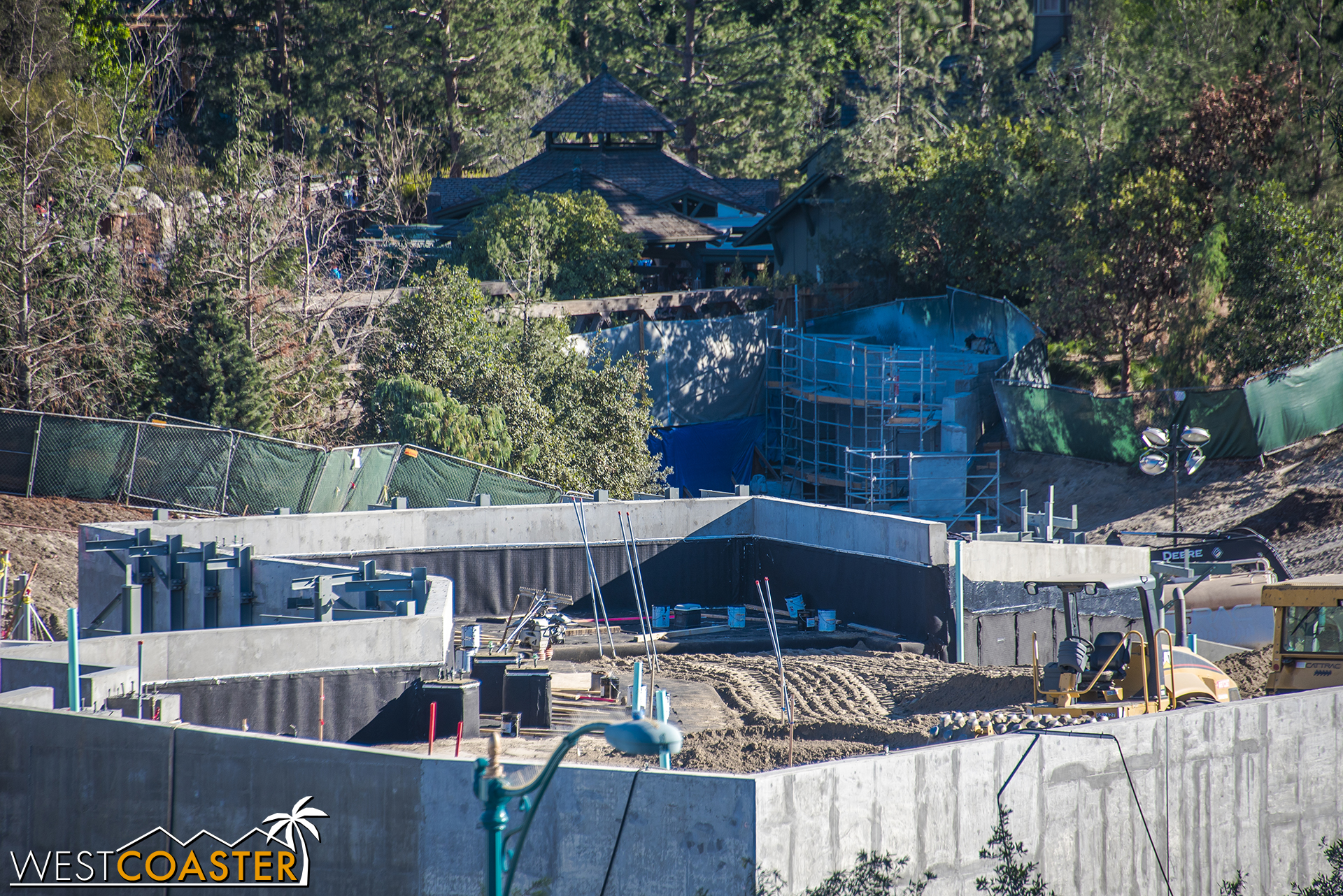 Work has also started along the pathway after the Critter Country entry, as evidenced by scaffolding that has popped up in the background.