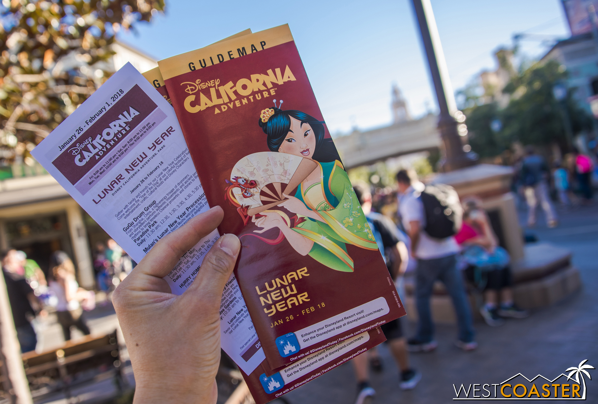 There's an entertainment guide, and Mulan is actually on the park map this year. Last year, they had Elsa, because they had to advertise the  Frozen  show at the Hyperion Theater.