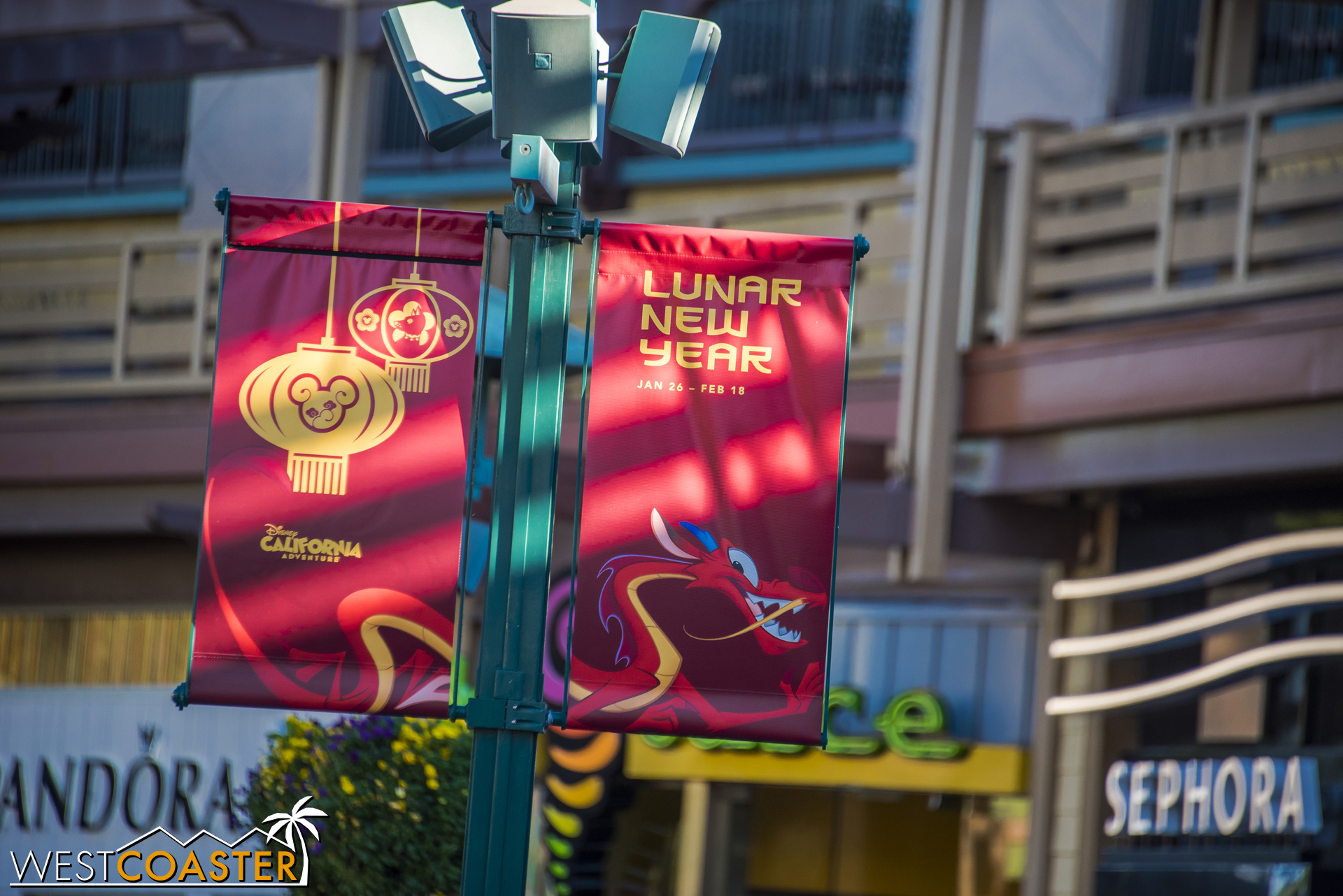 Banners all across Downtown Disney are advertising this year's Lunar New Year celebration at DCA.