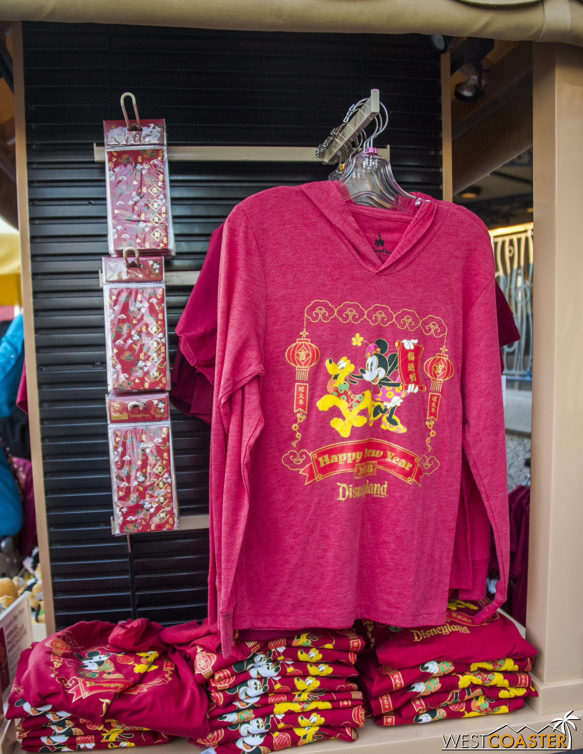 A merch stand over by The Little Mermaid offers a variety of Lunar New Year goods.