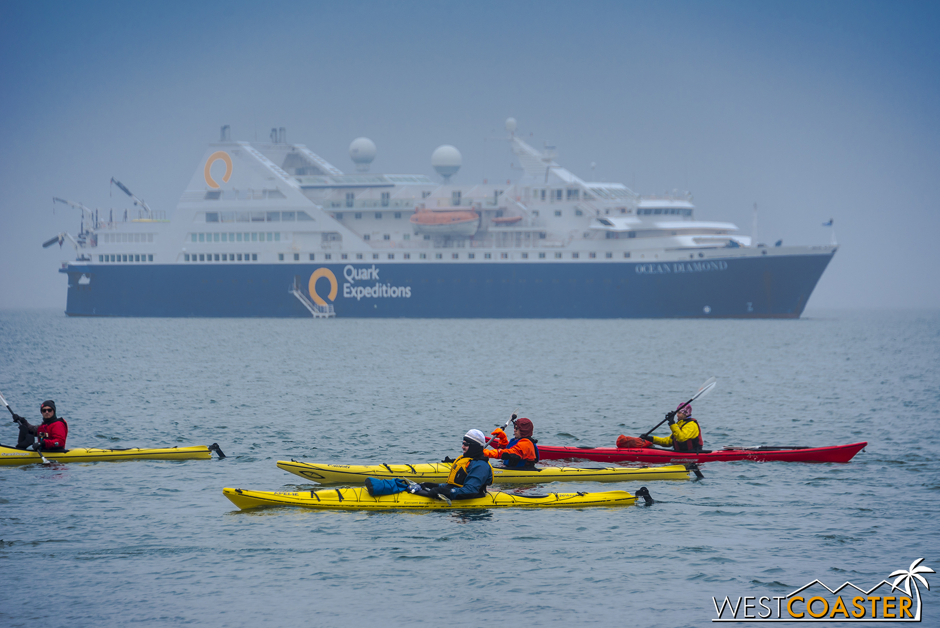 Kayakers make their way across the water, as the  Ocean Diamond  sits anchored beyond.