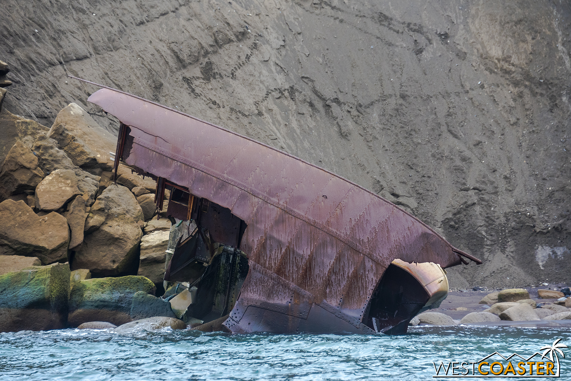 Close-up of remnants of the shipwreck.