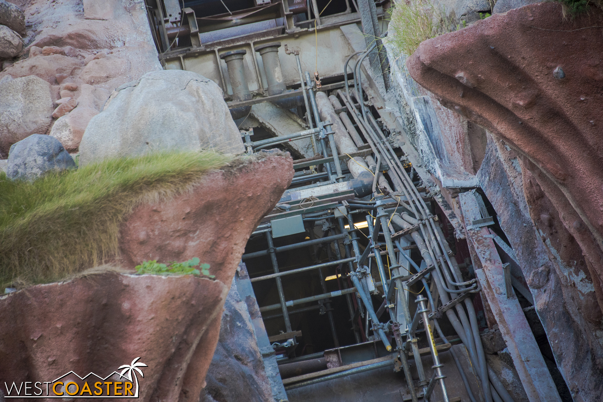 The drop flume has been removed, so you can see into the mountain's guts.
