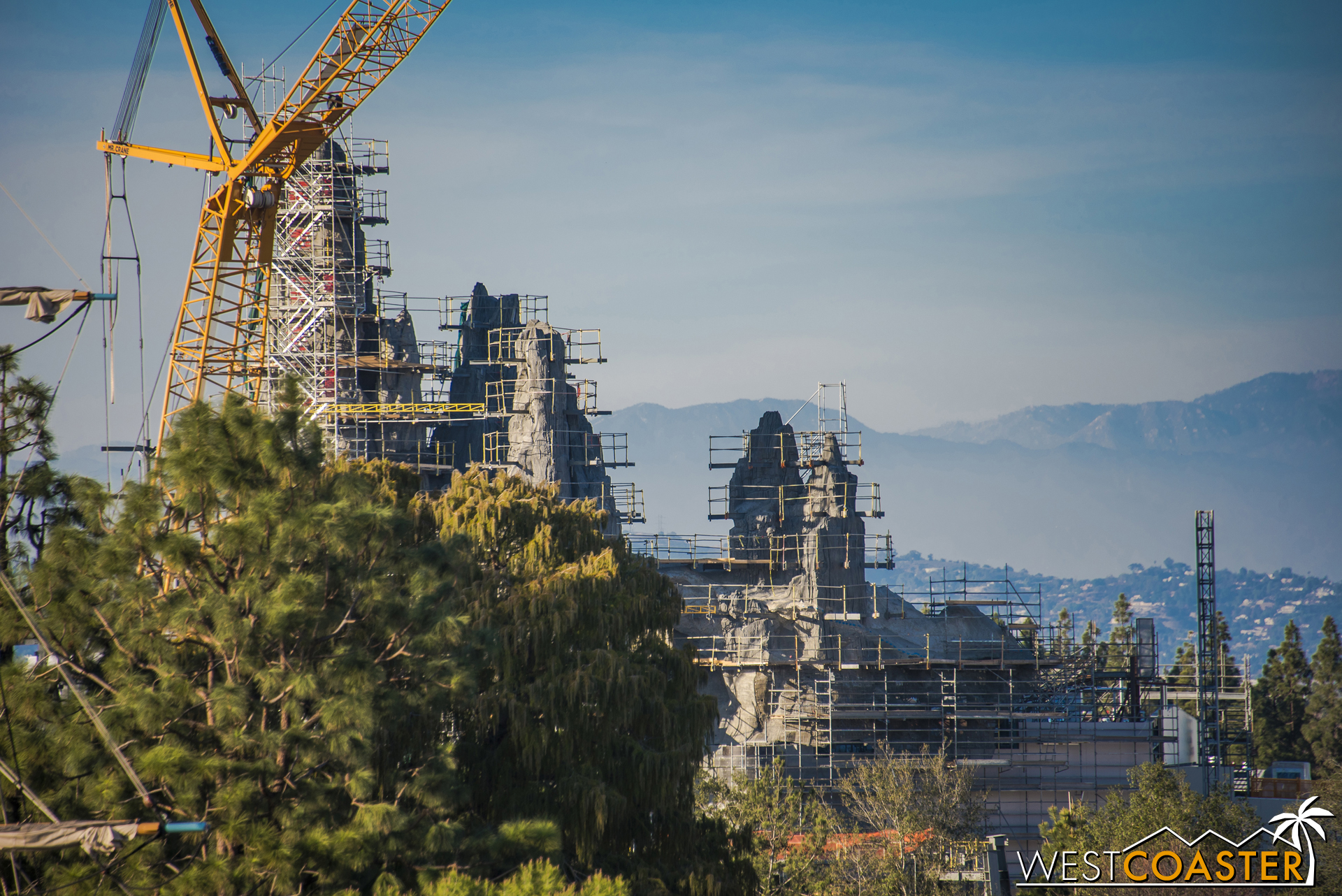 It'll be pretty exciting to see the finished forced perspective effect of this behind the Rivers of America and Frontierland.