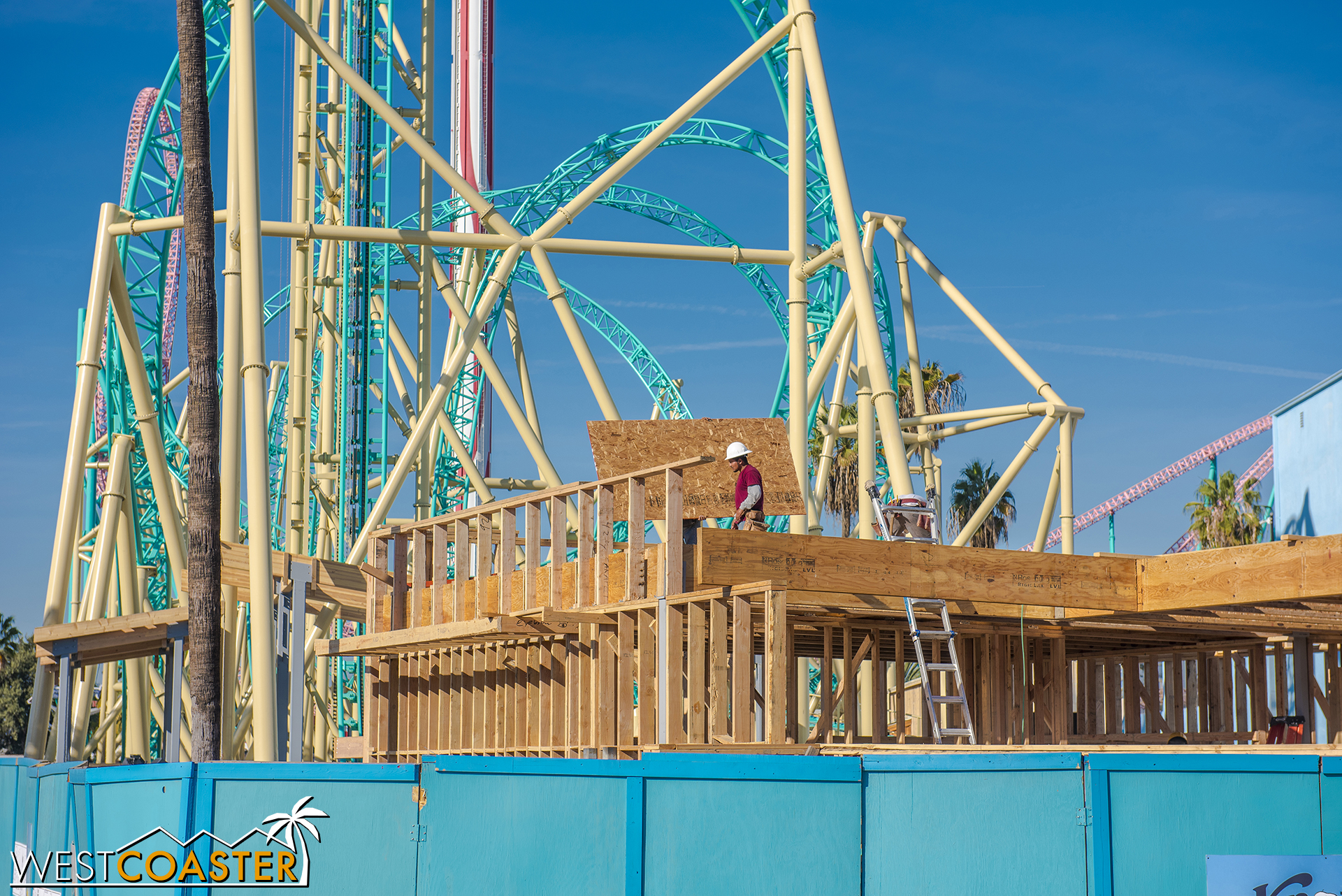 Yup, a wood erection has popped up at the HangTime construction site.