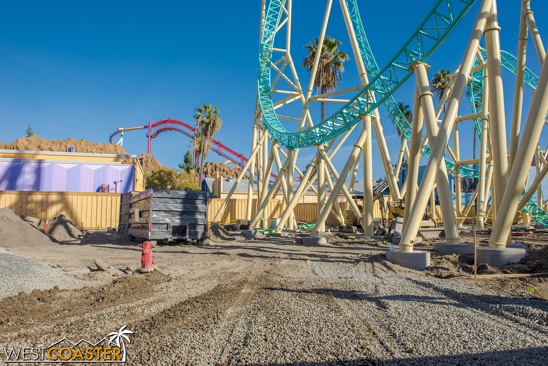 The site itself is still mostly dirt, so that will need to be beautified in the upcoming bit of time before the ride opens.