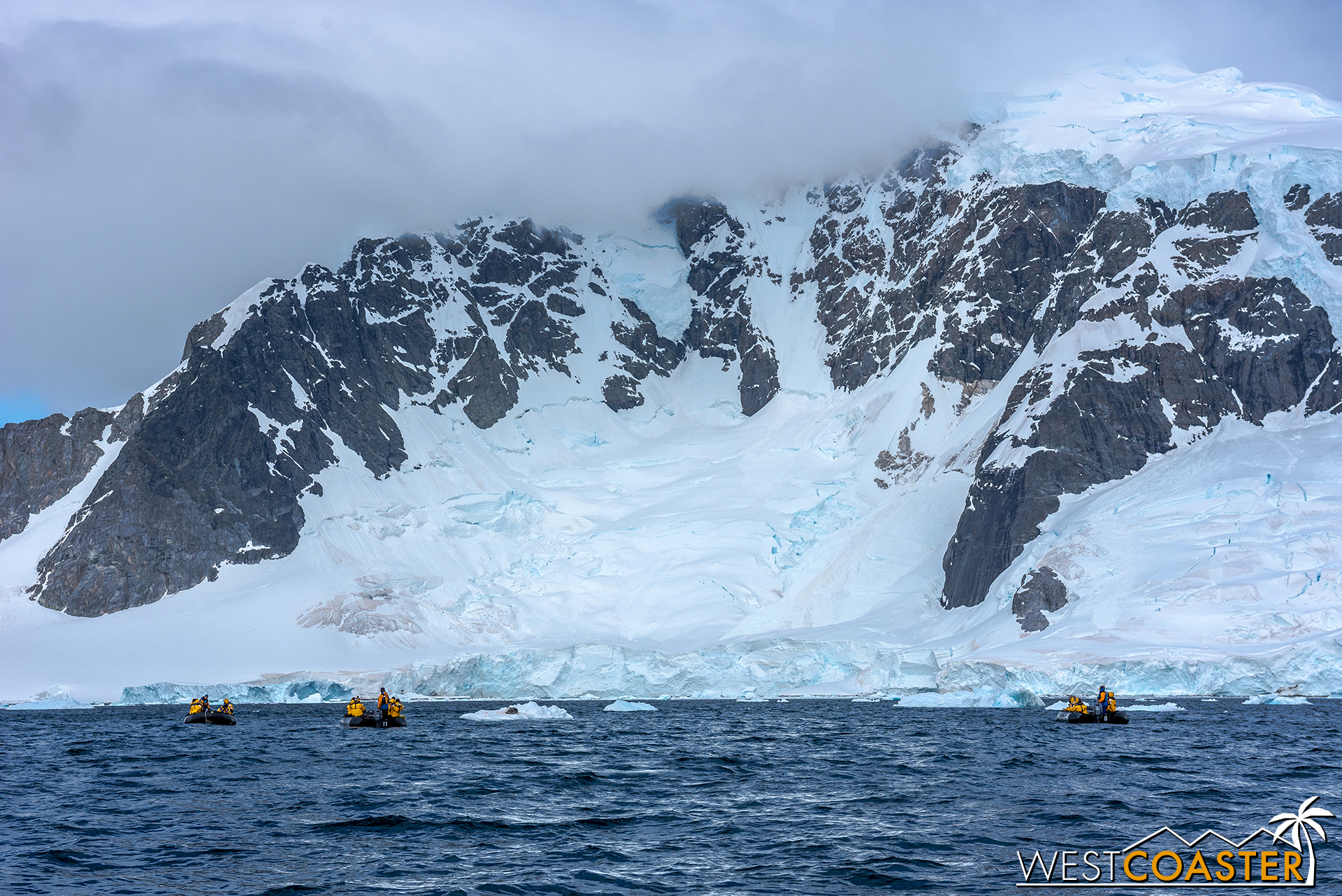 Zodiacs exploring out on the water.