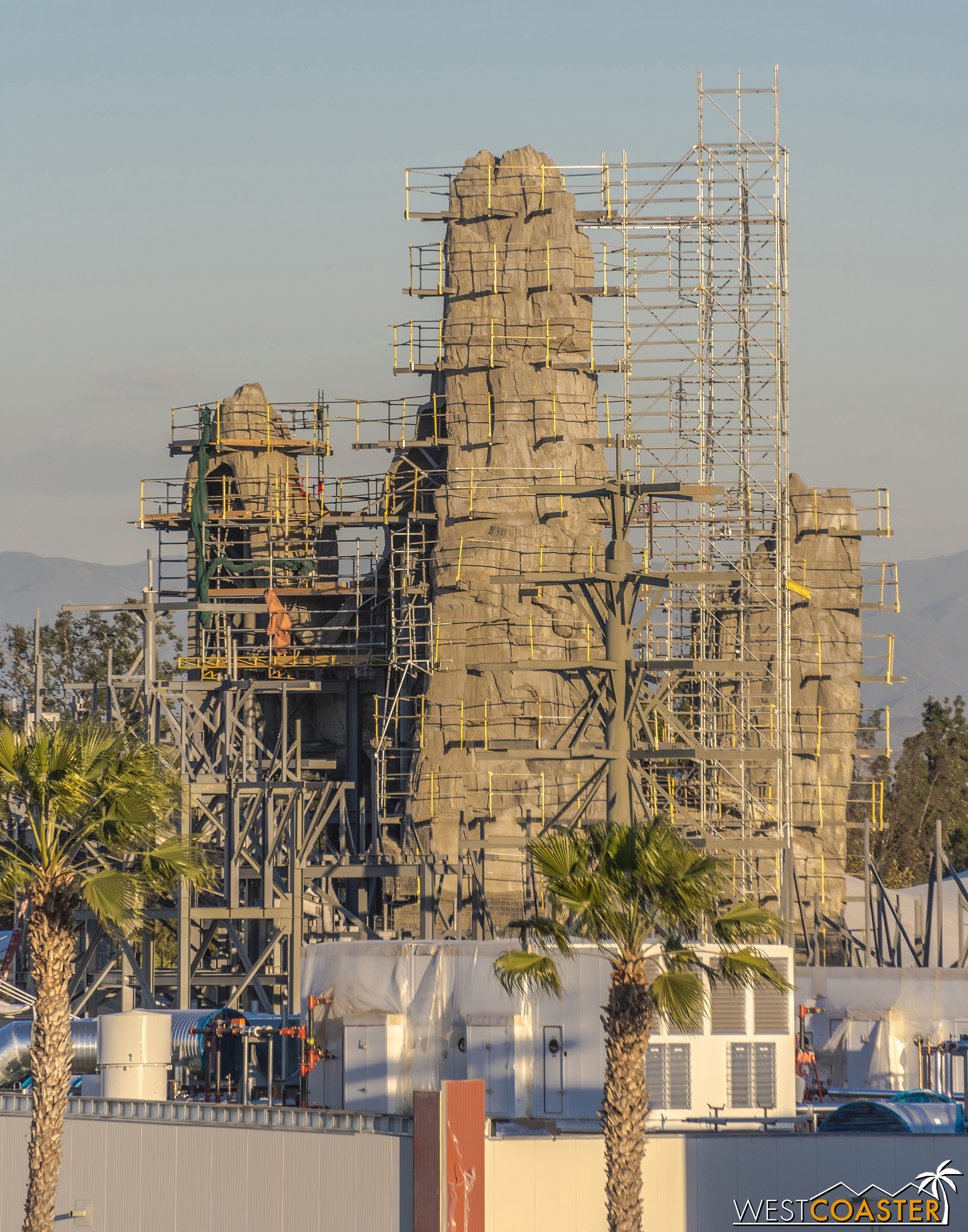 Here's another look at the big rock spire, along with a column and protruding beams for another, smaller rock spire to be soon erected.