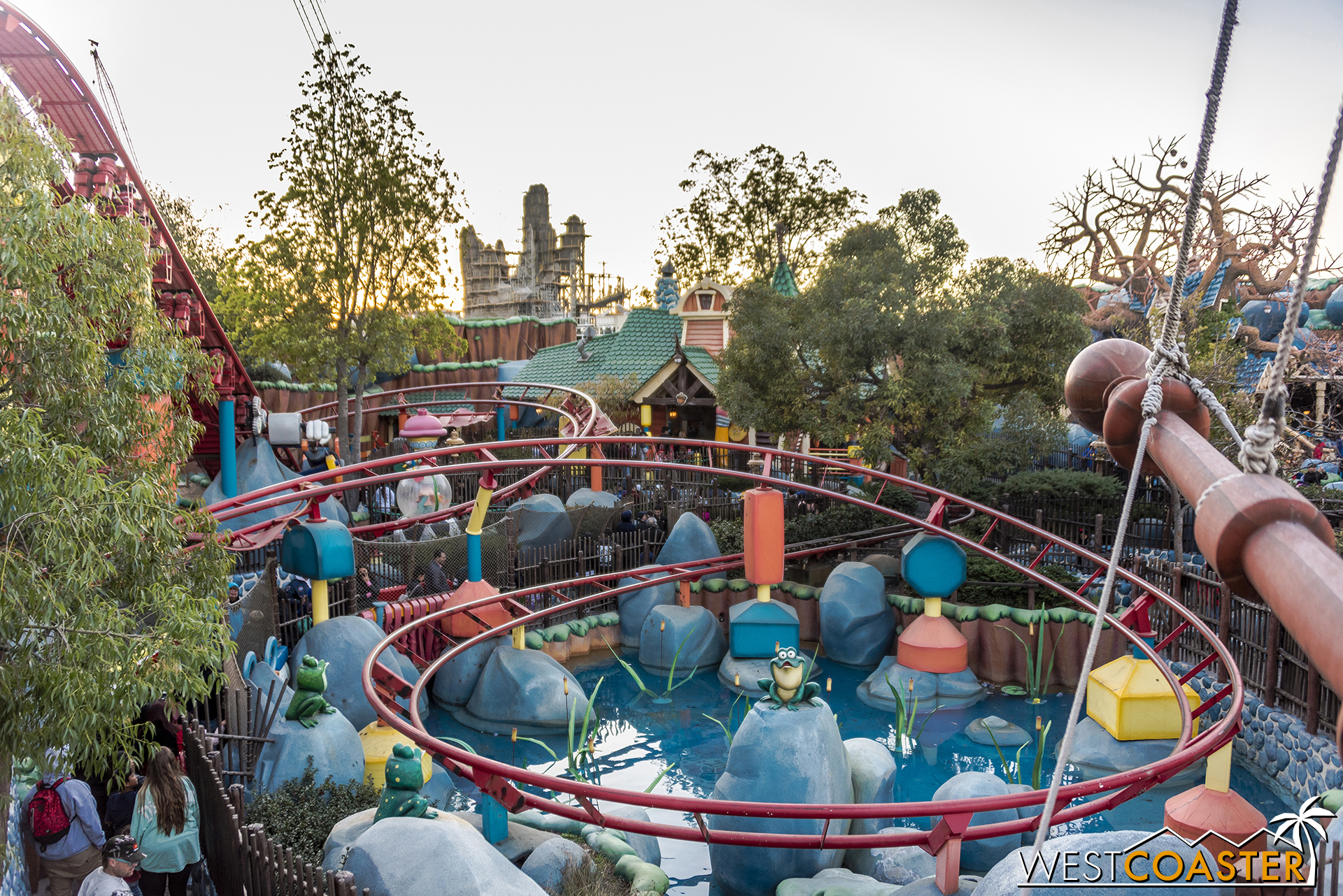 This is the biggest sightline issue I can see. Rock spires blend into the background of the Rivers of America and Frontierland, which are already rustic.
