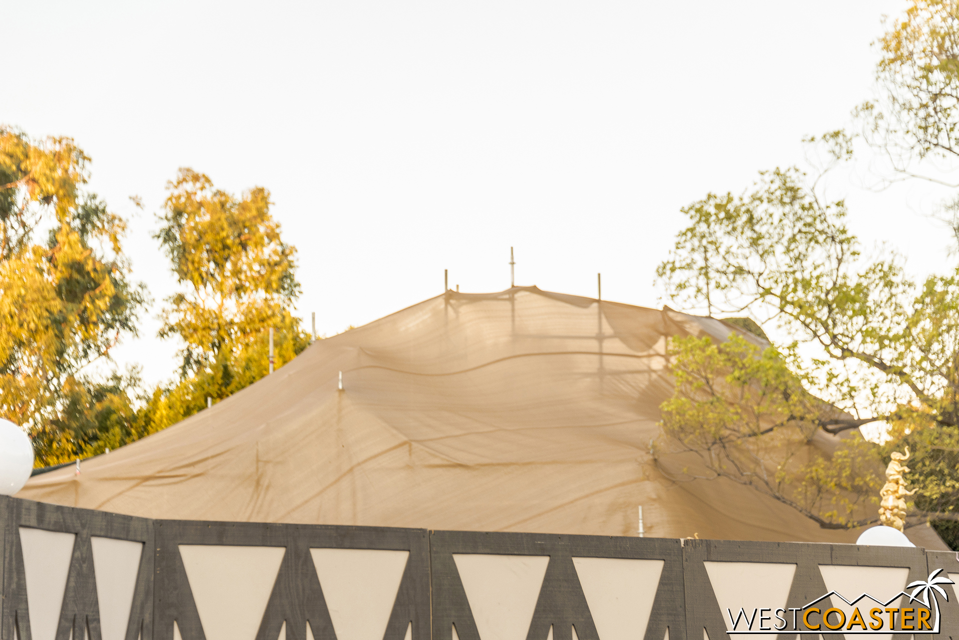 Over at Storybook Land, there is still some amount of tarps and scaffolding up.