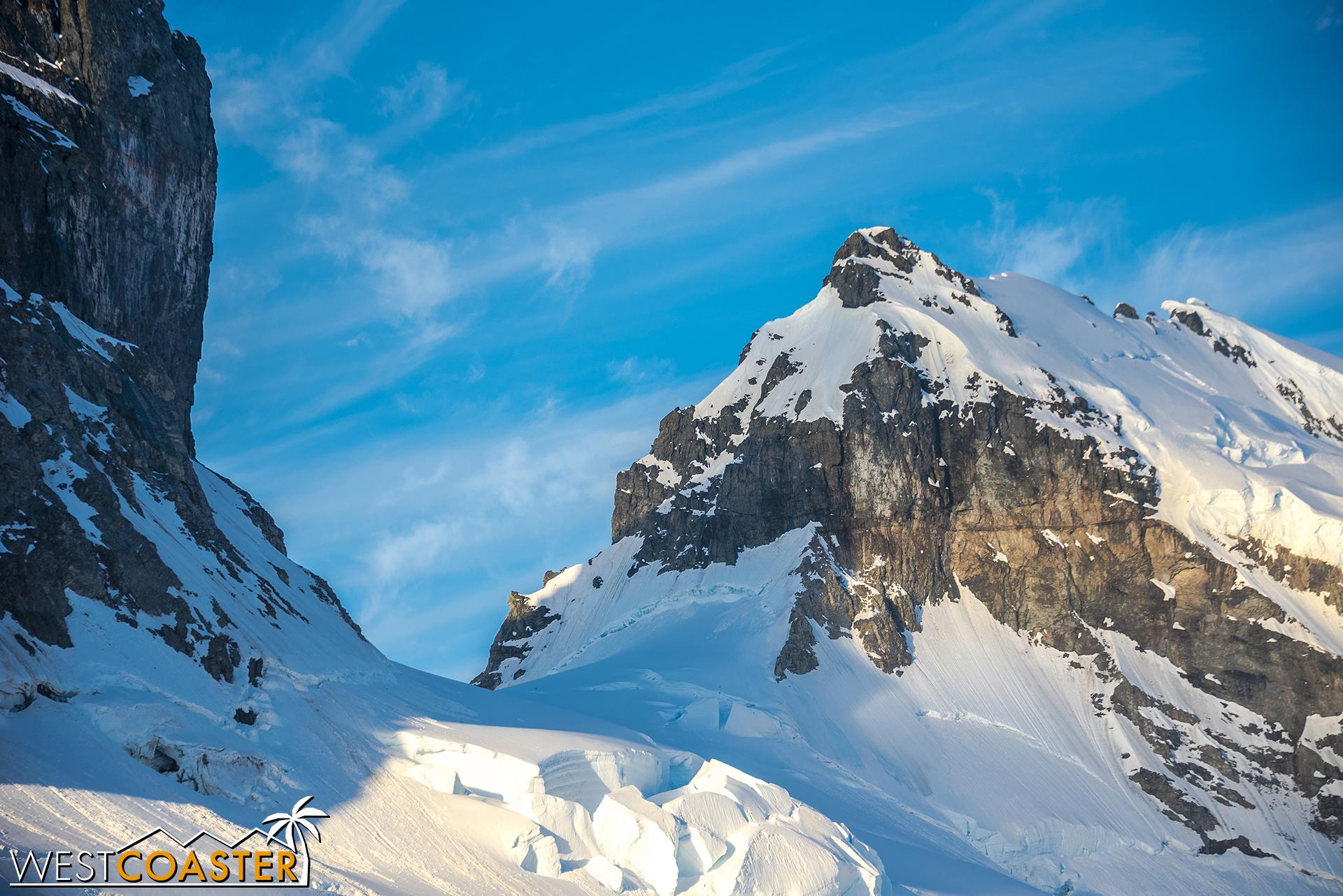 Beautiful, snowy mountaintops surround us.