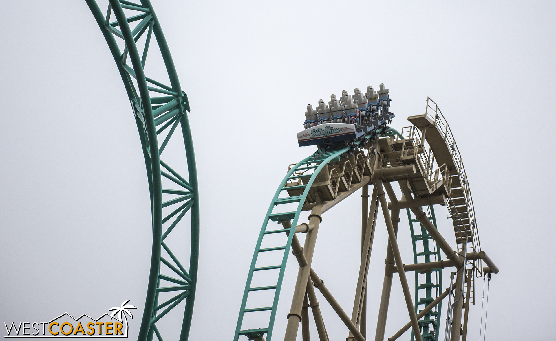 The coaster doesn't pause here as much as it slows down and sort of inches along before commencing its drop in proper.