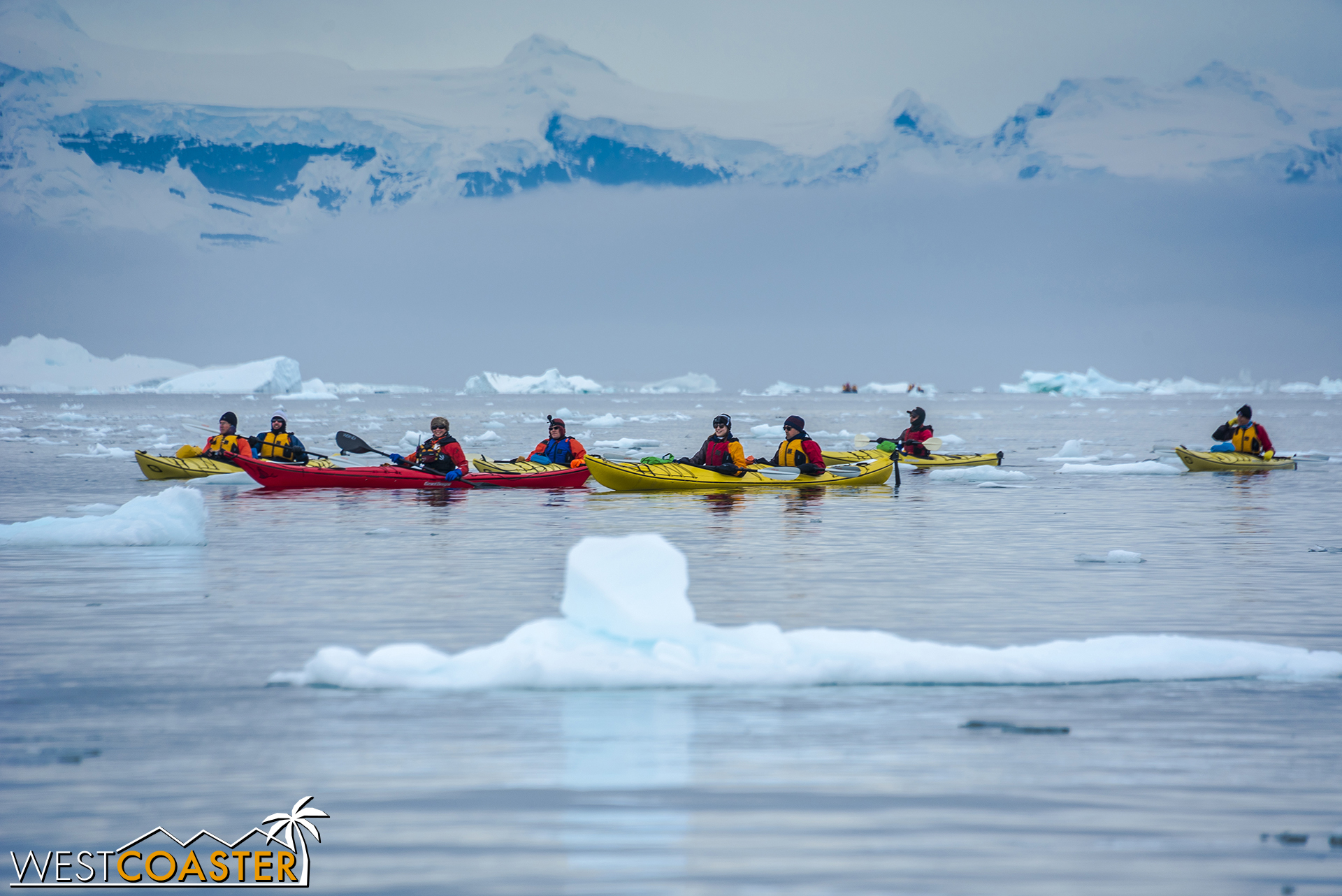 Kayakers approach in a group.