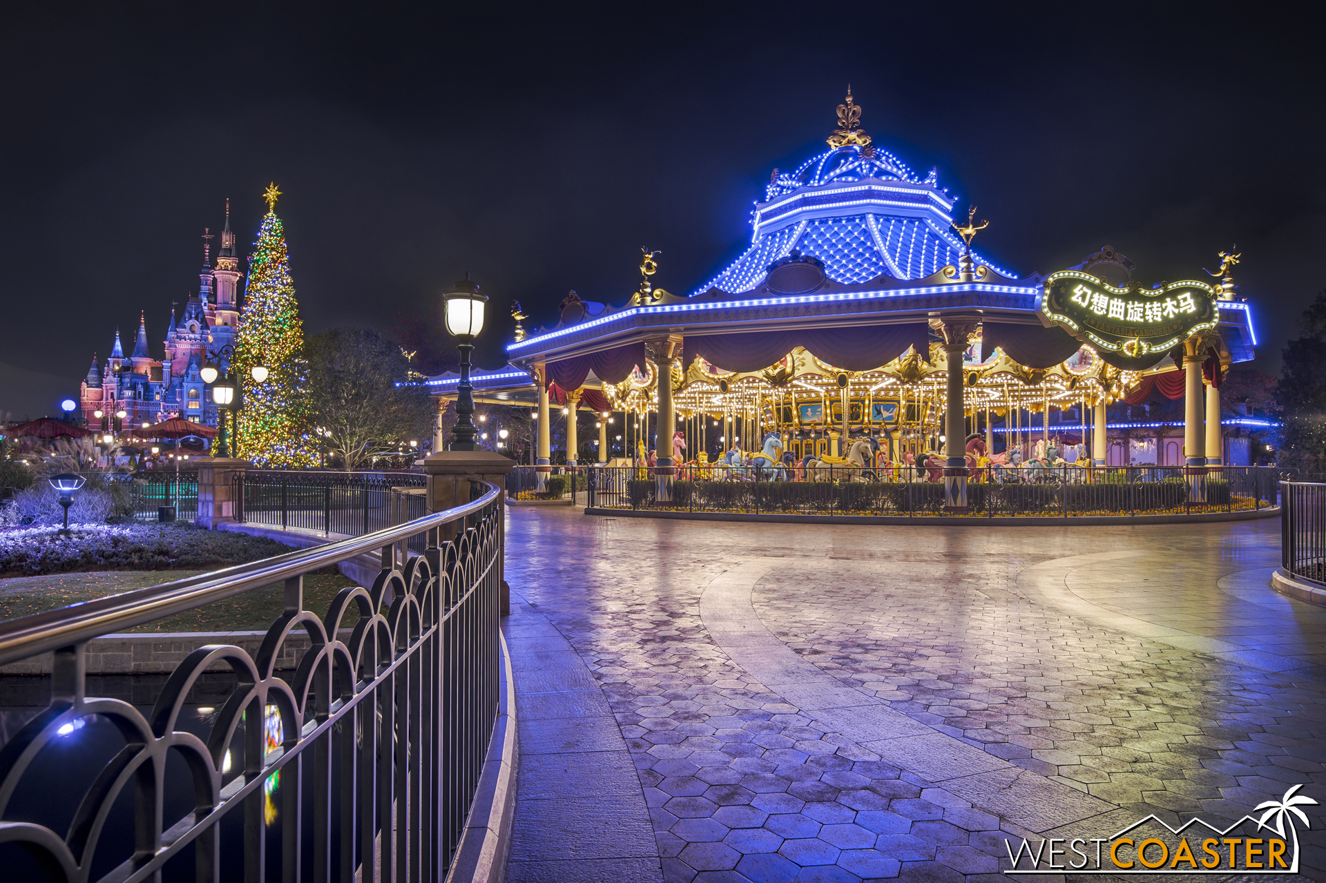 This merry-go-round is dazzling by night.