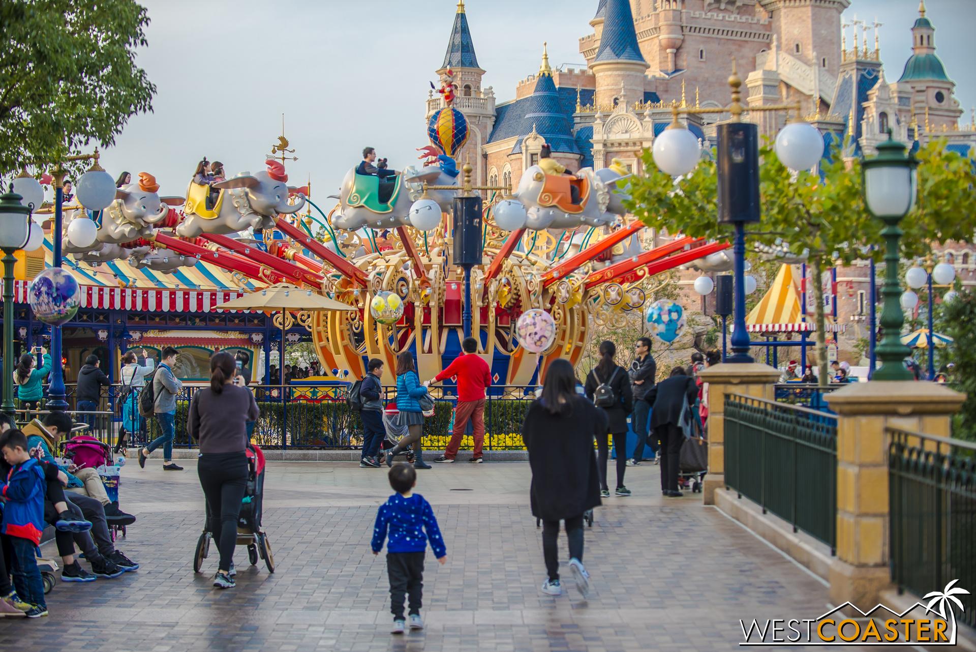 Popular favorite Dumbo the Flying Elephant is in the Gardens of Imagination at Shanghai Disneyland.