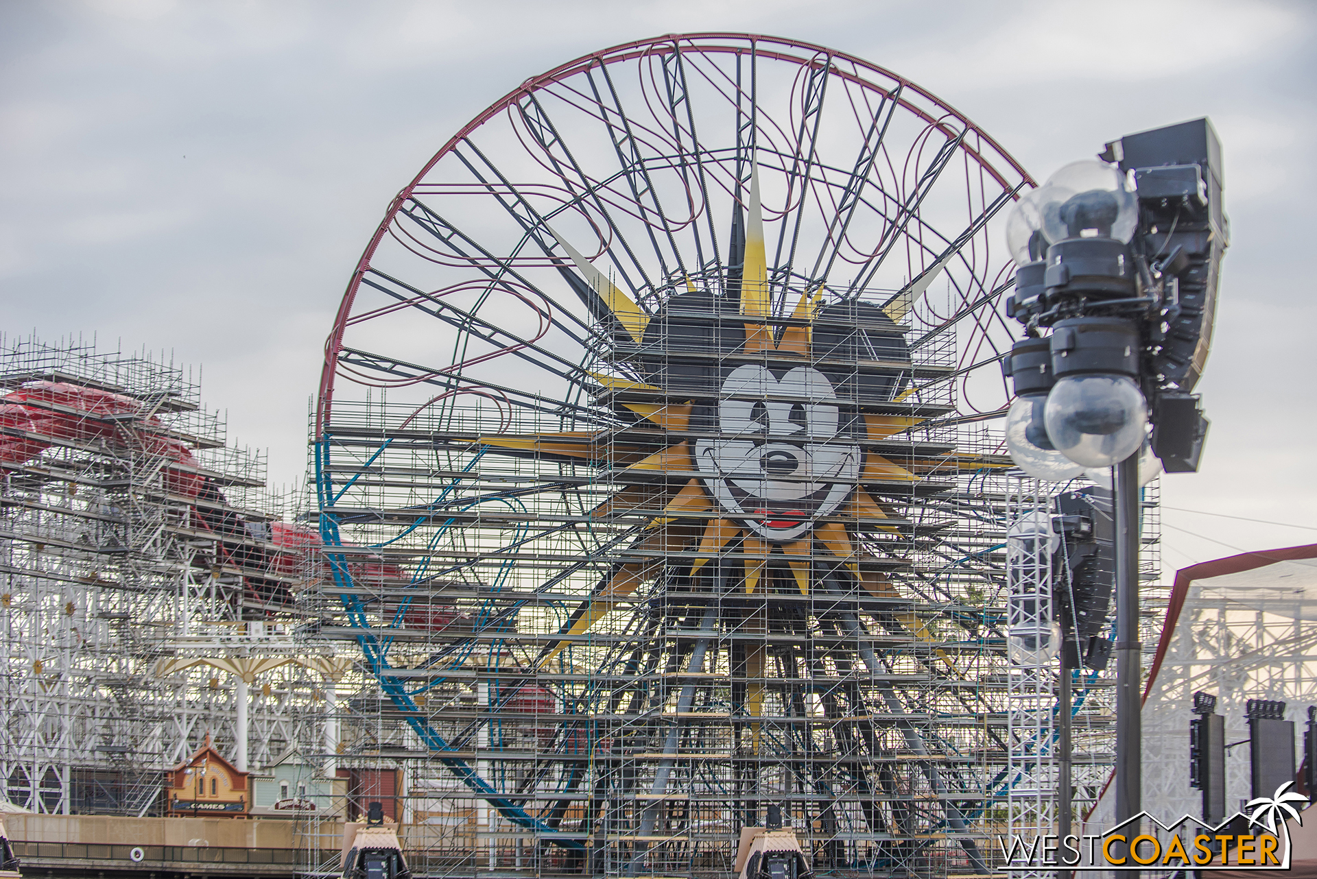 You can see it continuing behind the Fun Wheel, which looks like it hasn't gotten any new paint since two weeks ago when we last stopped by.