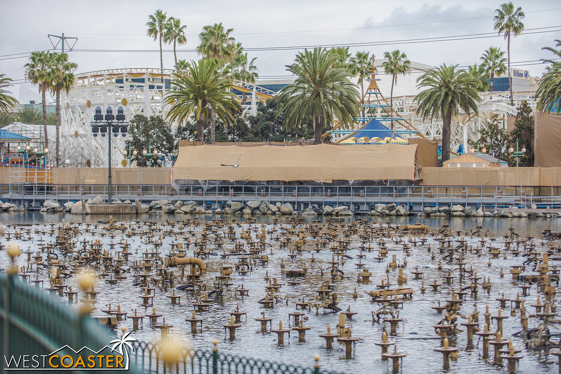 Here's a pan of the Pixar Pier waterfront.
