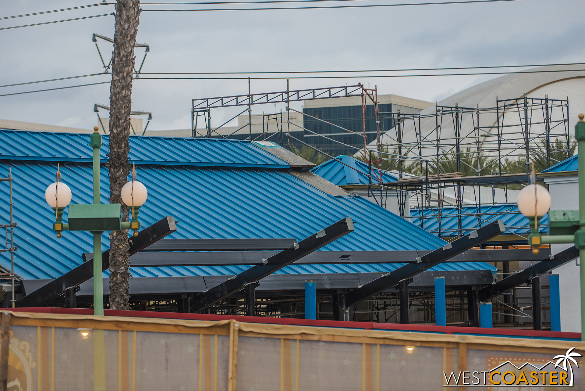 Here's a closer look at the new beams and joists that will form the chevron addition to make the roller coaster look more mid-century modern.