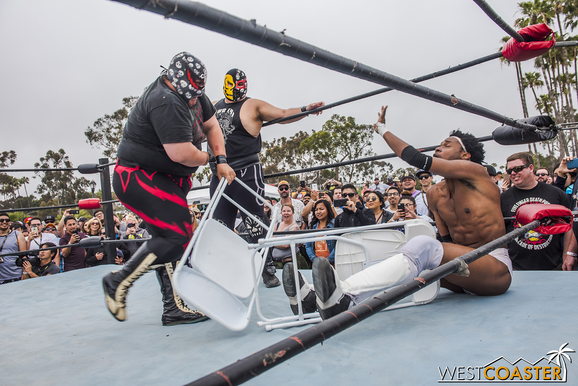 The championship match featured a lot of shennanigans, such as the heels using folding chairs in painful downtown demolitions.