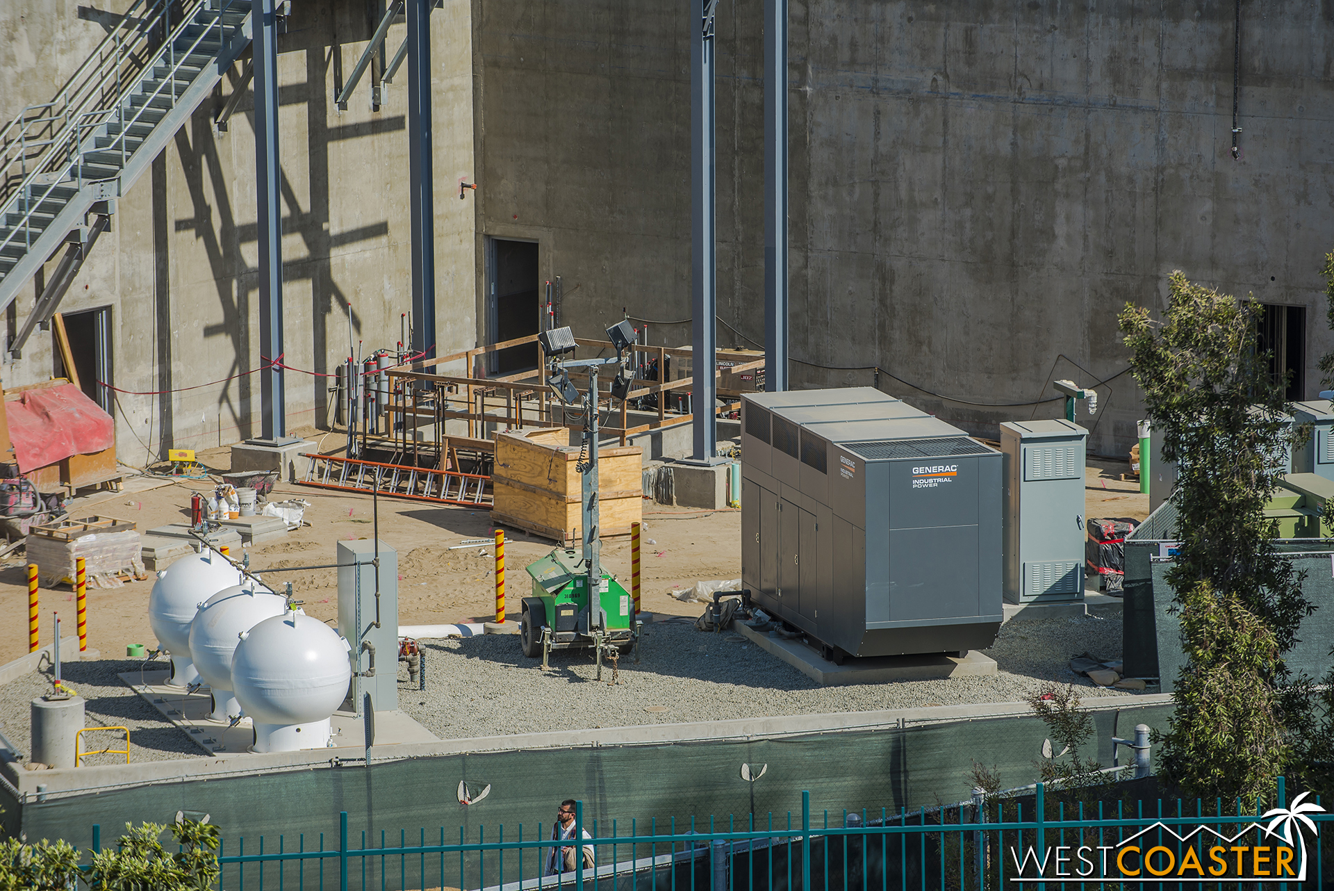 More ground equipment in the utility yard. Giant golf balls join the electrical switchgear.