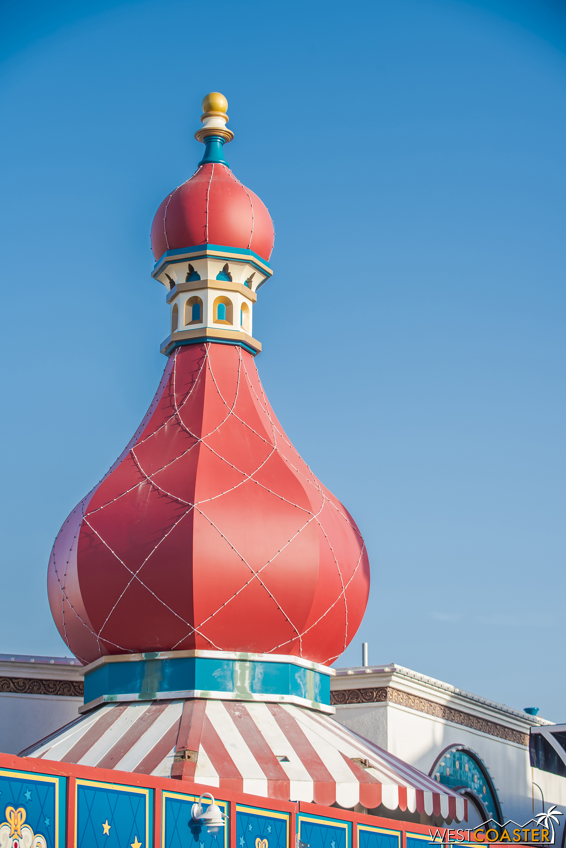 The front of Knick Knacks has a roof spire too.