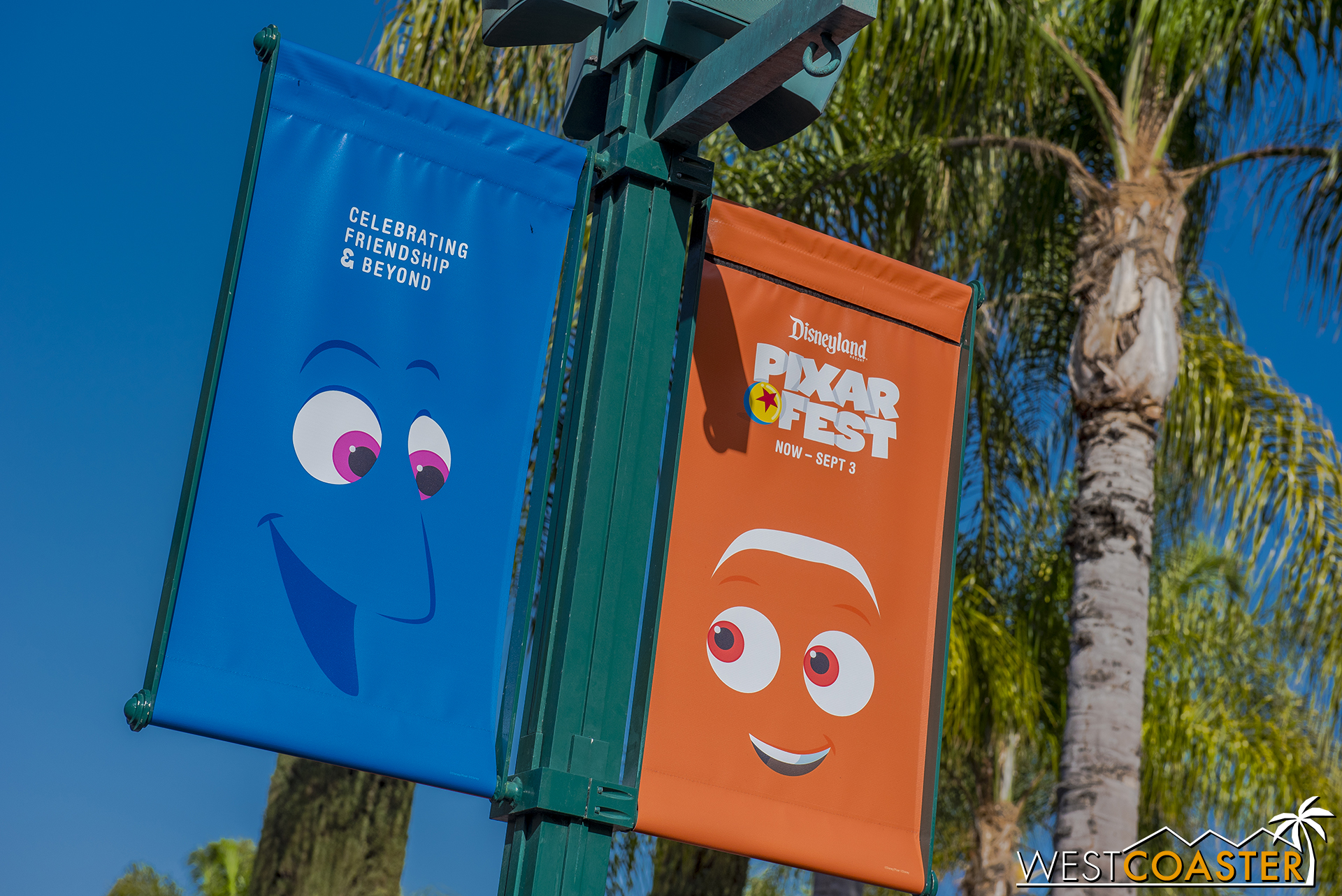 Banners are up all over the Disneyland Resort to promote Pixar Fest.