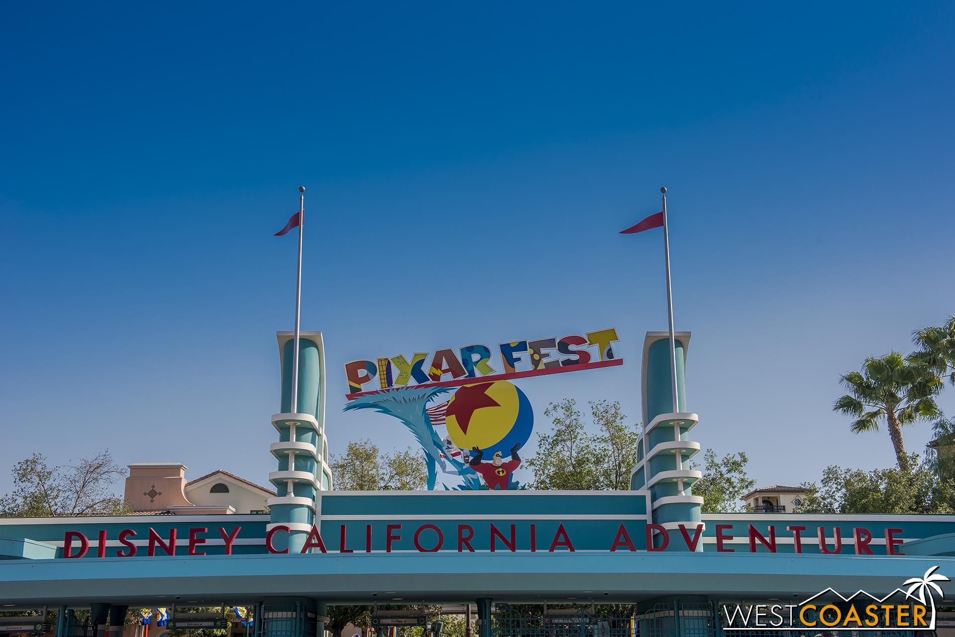 Disney California Adventure has new signage for Pixar Fest.