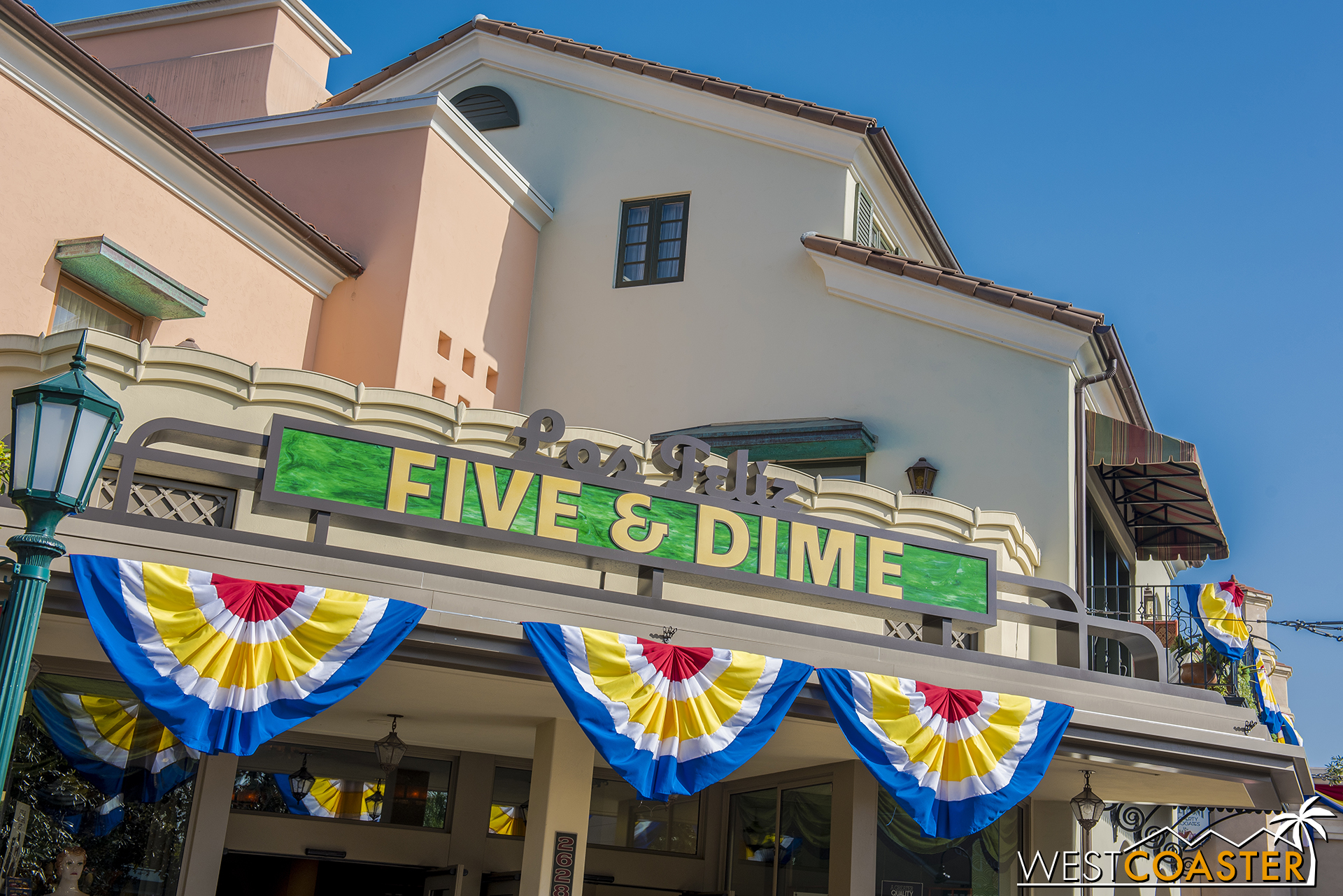 Red, yellow, (white) and blue bunting is everywhere in Buena Vista Street.