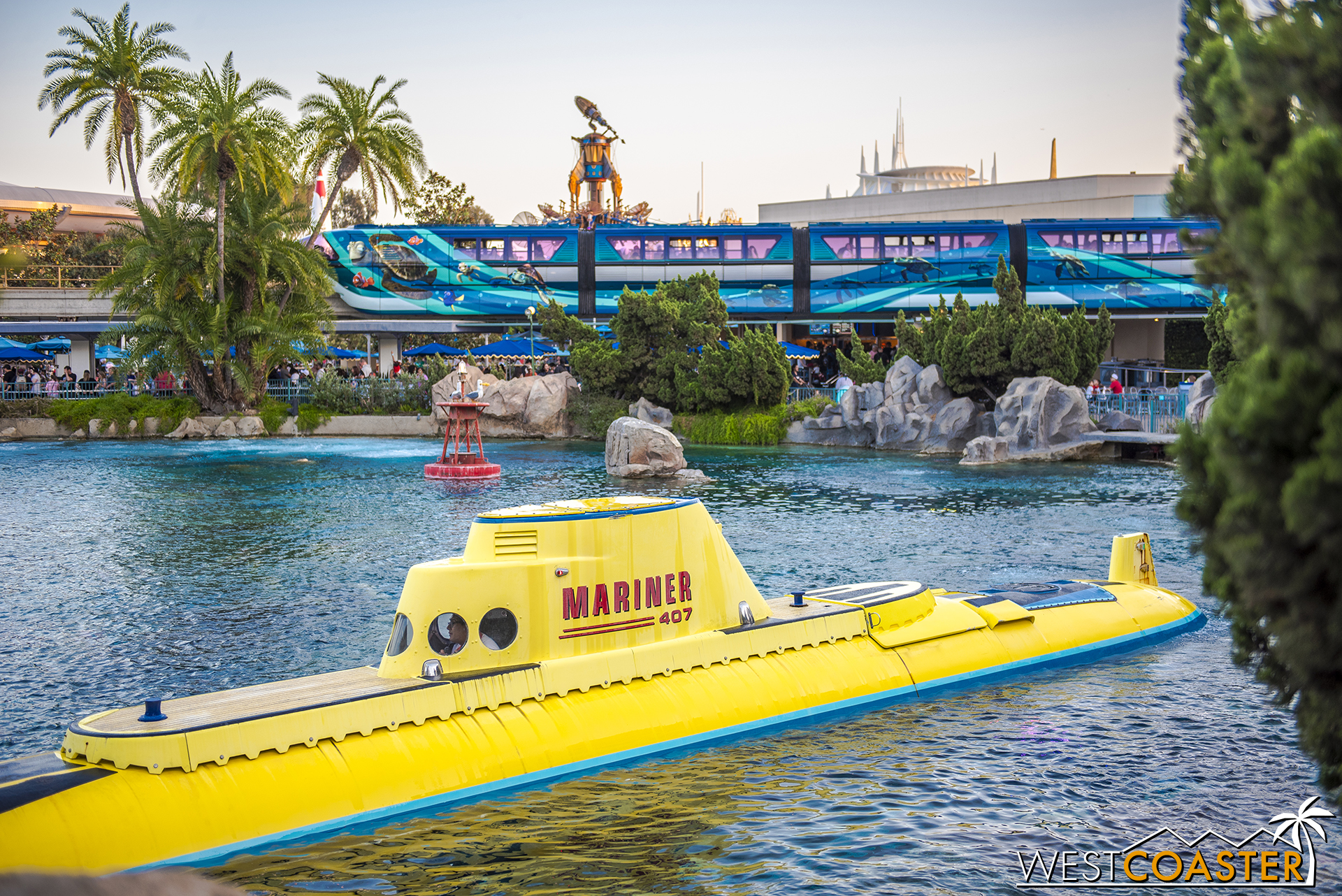 The monorail has gotten a new skin for Pixar Fest too.