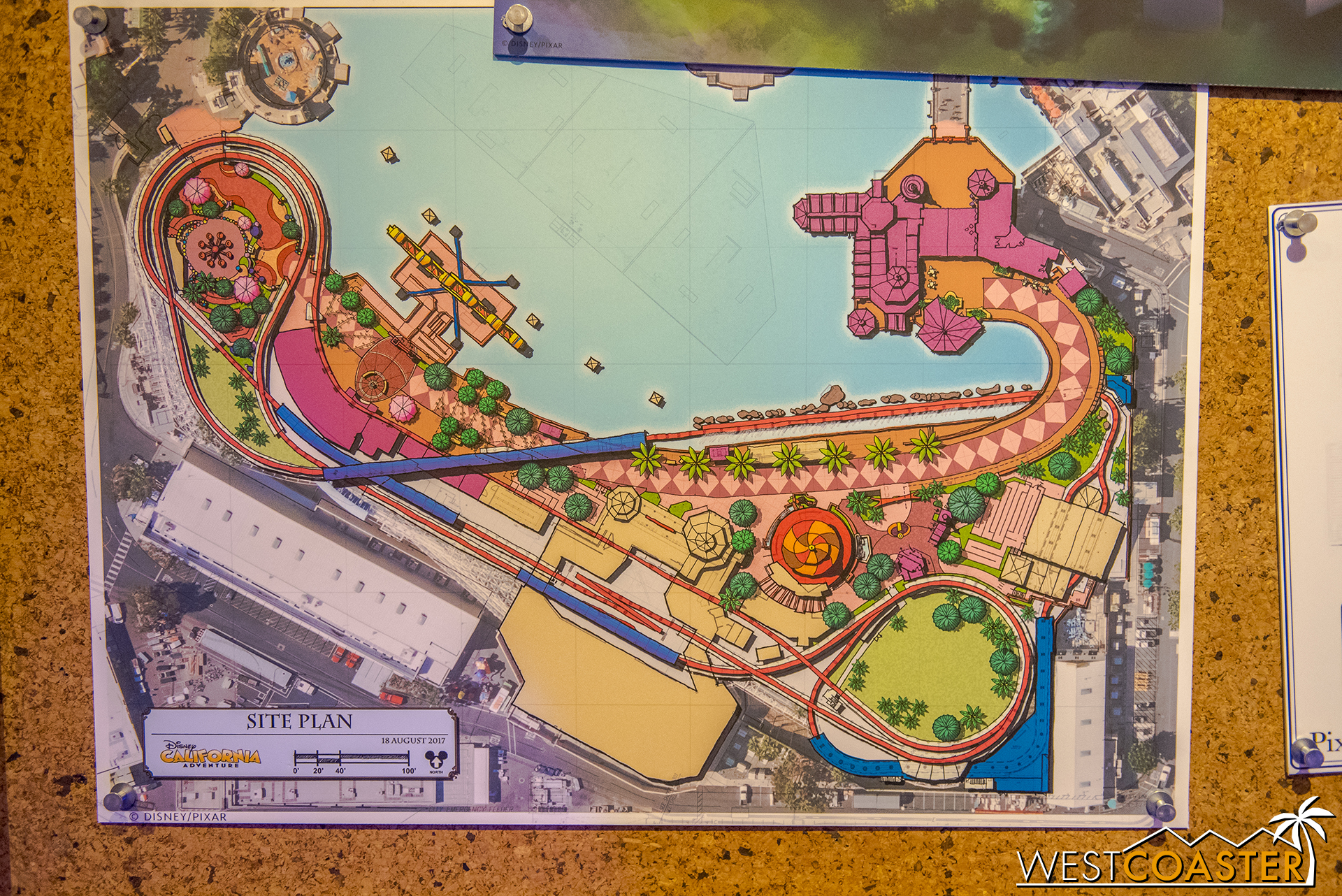 Pieces like this colored site plan showcase what the Imagineers work through during their design projects.