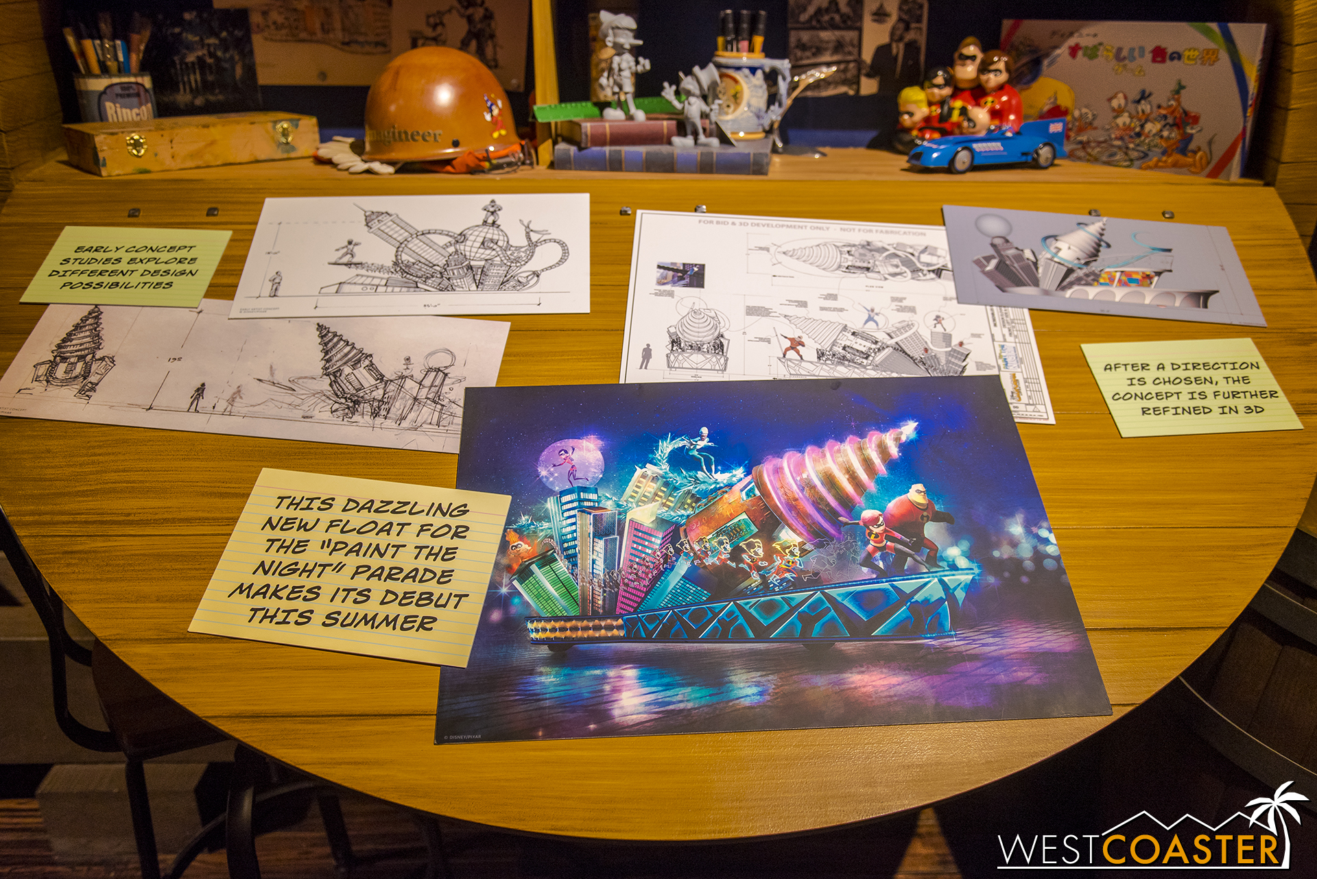 Plus artwork for the upcoming  Incredibles  float for Paint the Night.