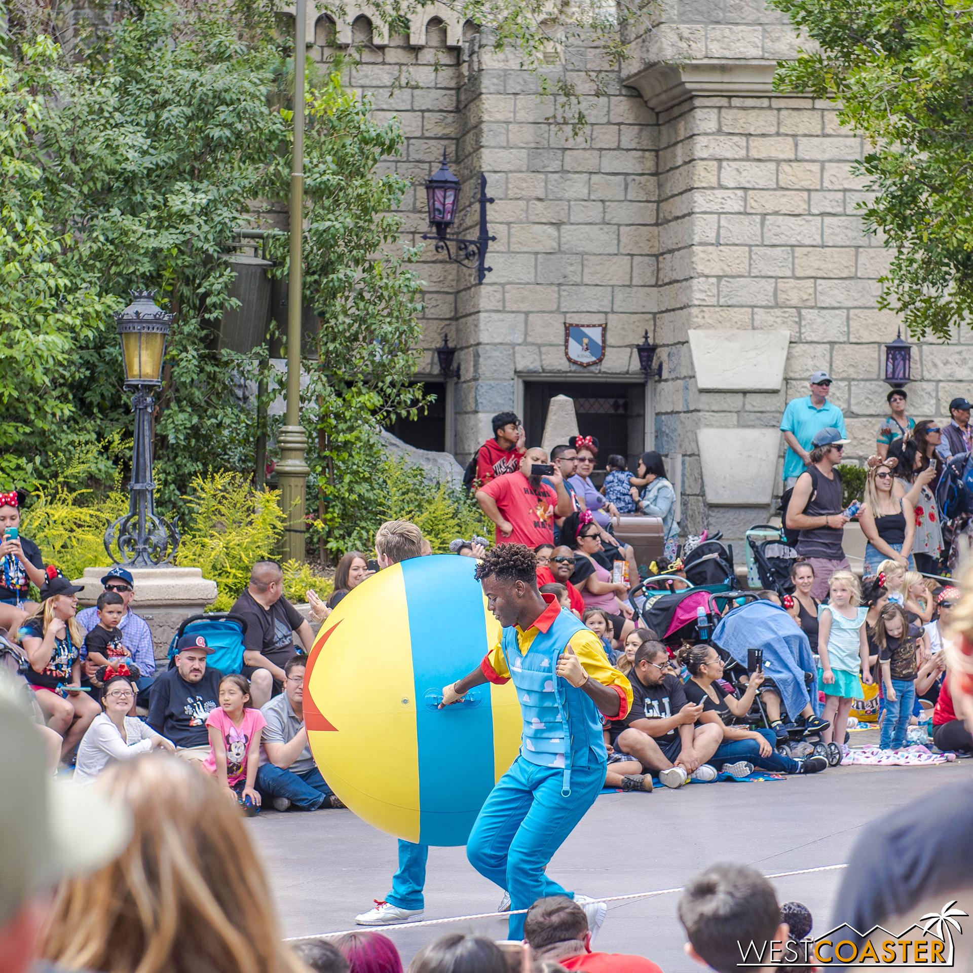 Bouncy Pixar ball kicks things off at the Pixar Play Parade.