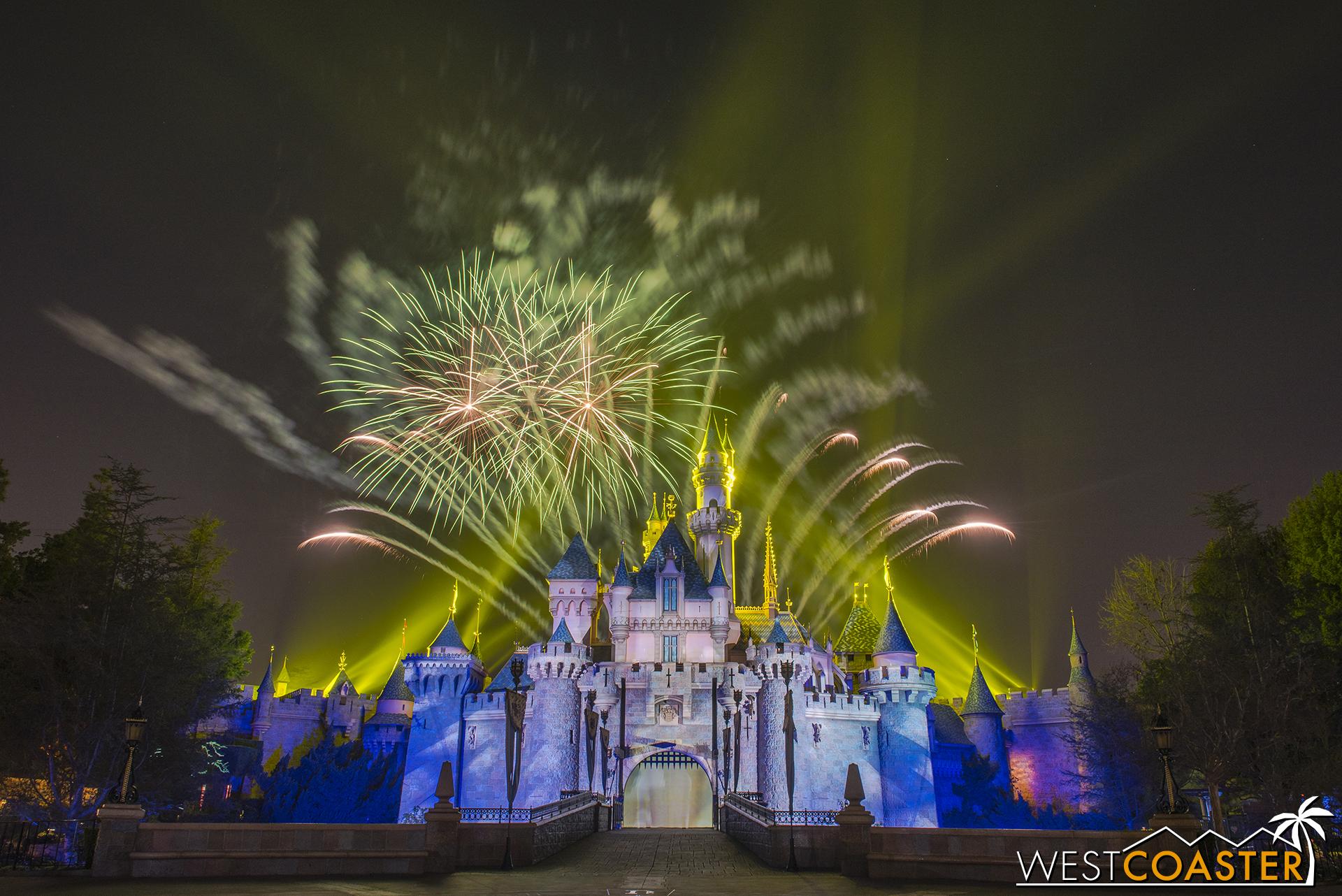 Plenty of pyrotechnics light up the sky, and Buzz Light year streaks across Sleeping Beauty Castle.