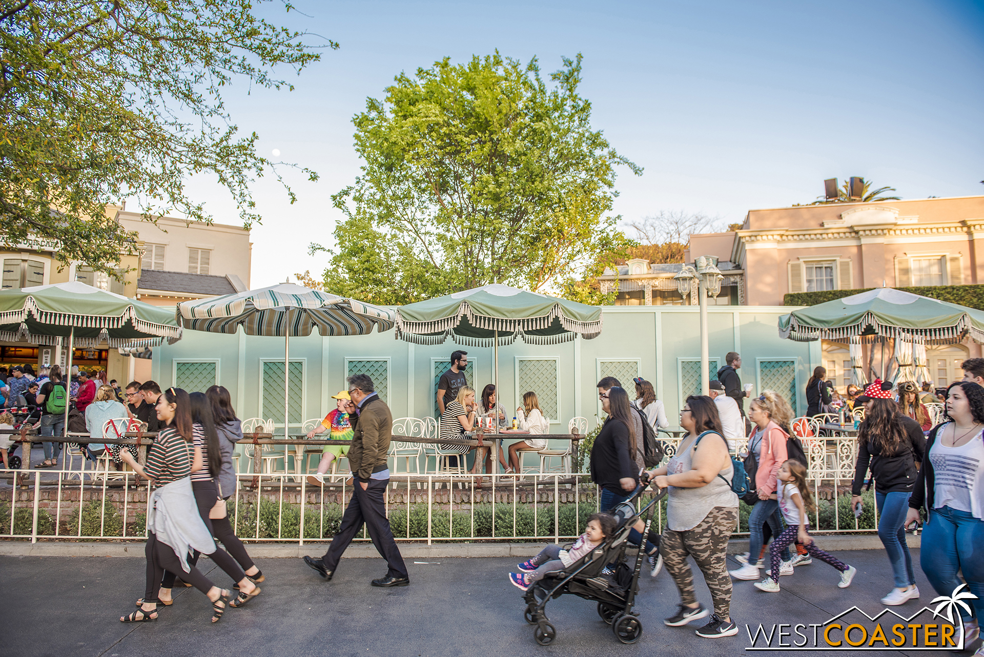 Work walls are up around a small section of the dining area outside Stage Door Cafe.