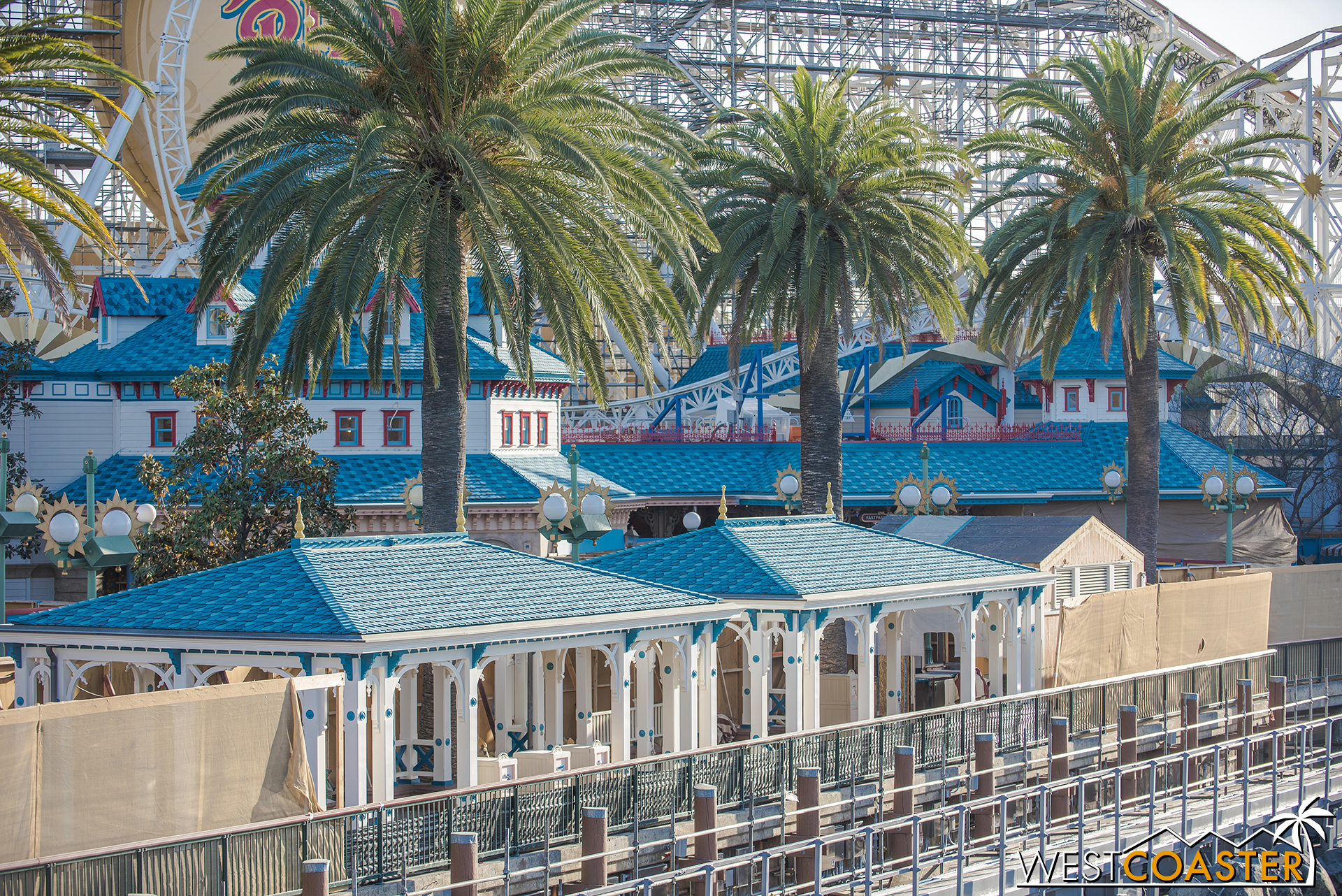 Shade canopies are done and match the color scheme of the Toy Story Midway Mania building.