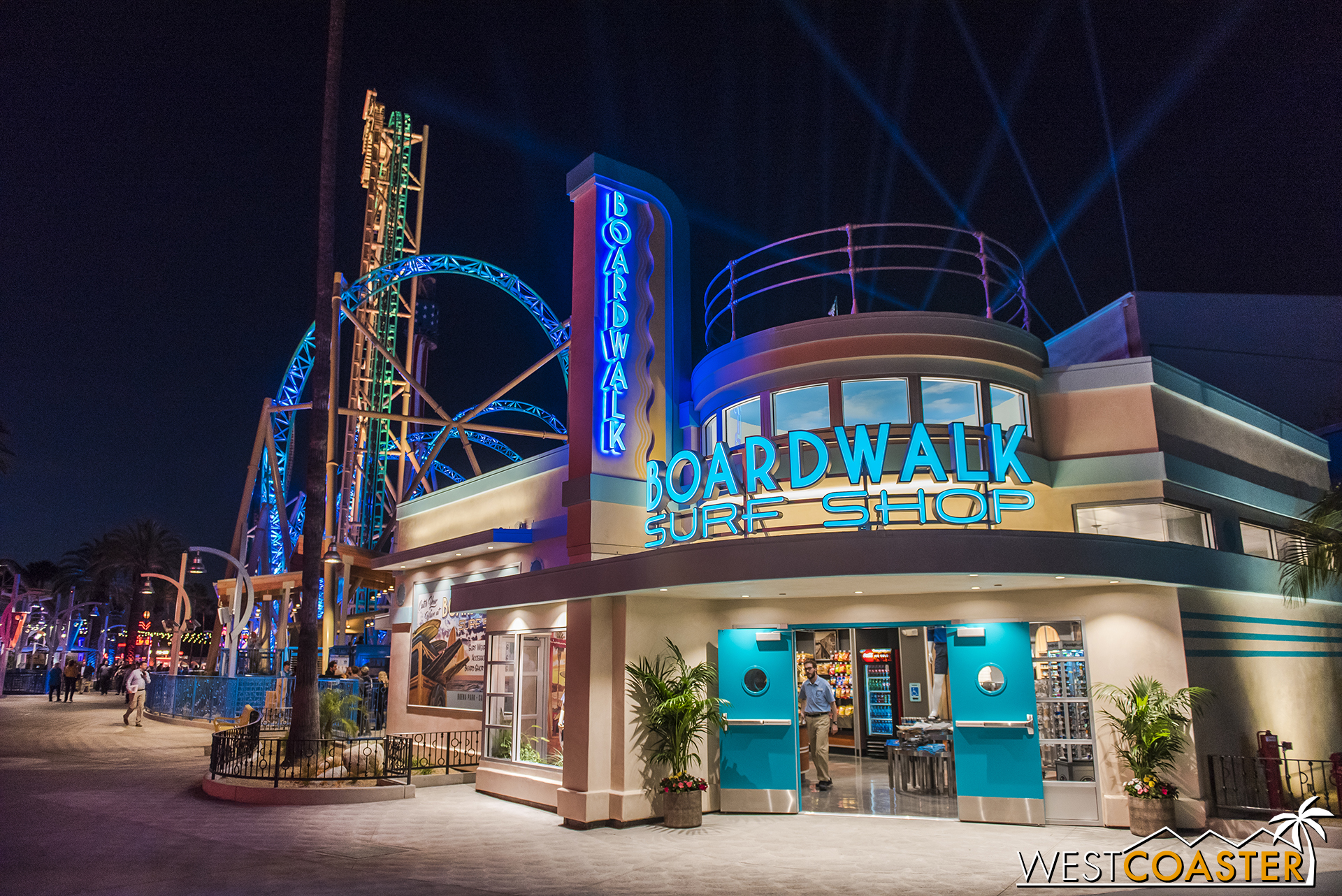 The Boardwalk Surf Shop looks great at night!