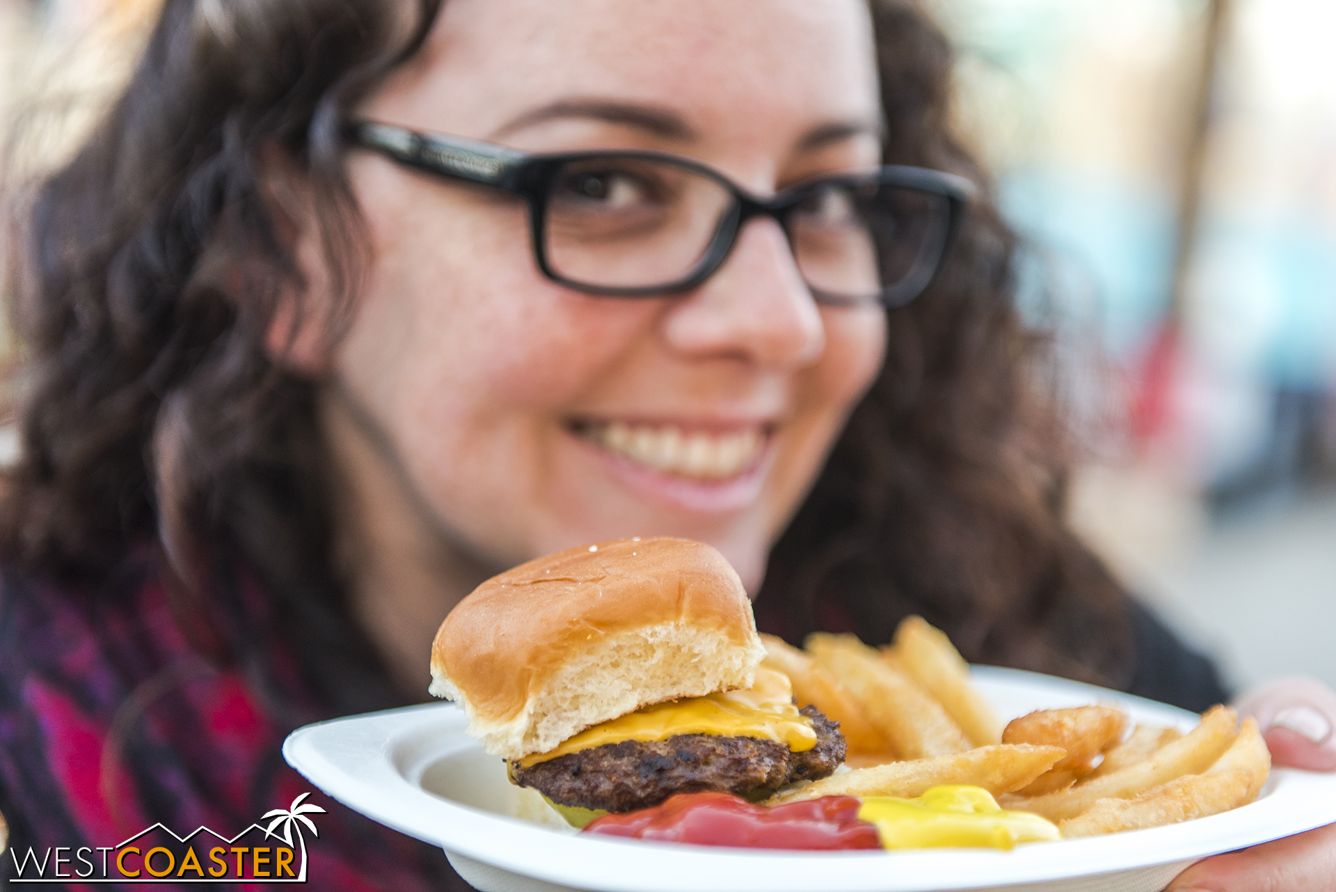 Coasters featured tasty sliders, as modeled by our lovely Jenny O.