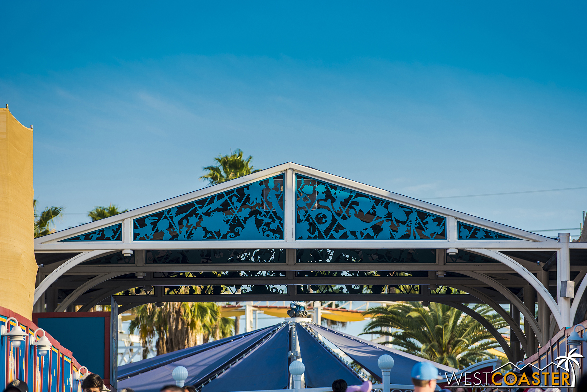 The new canopy over the main walkway has been given a series of silhouettes of various Pixar characters.