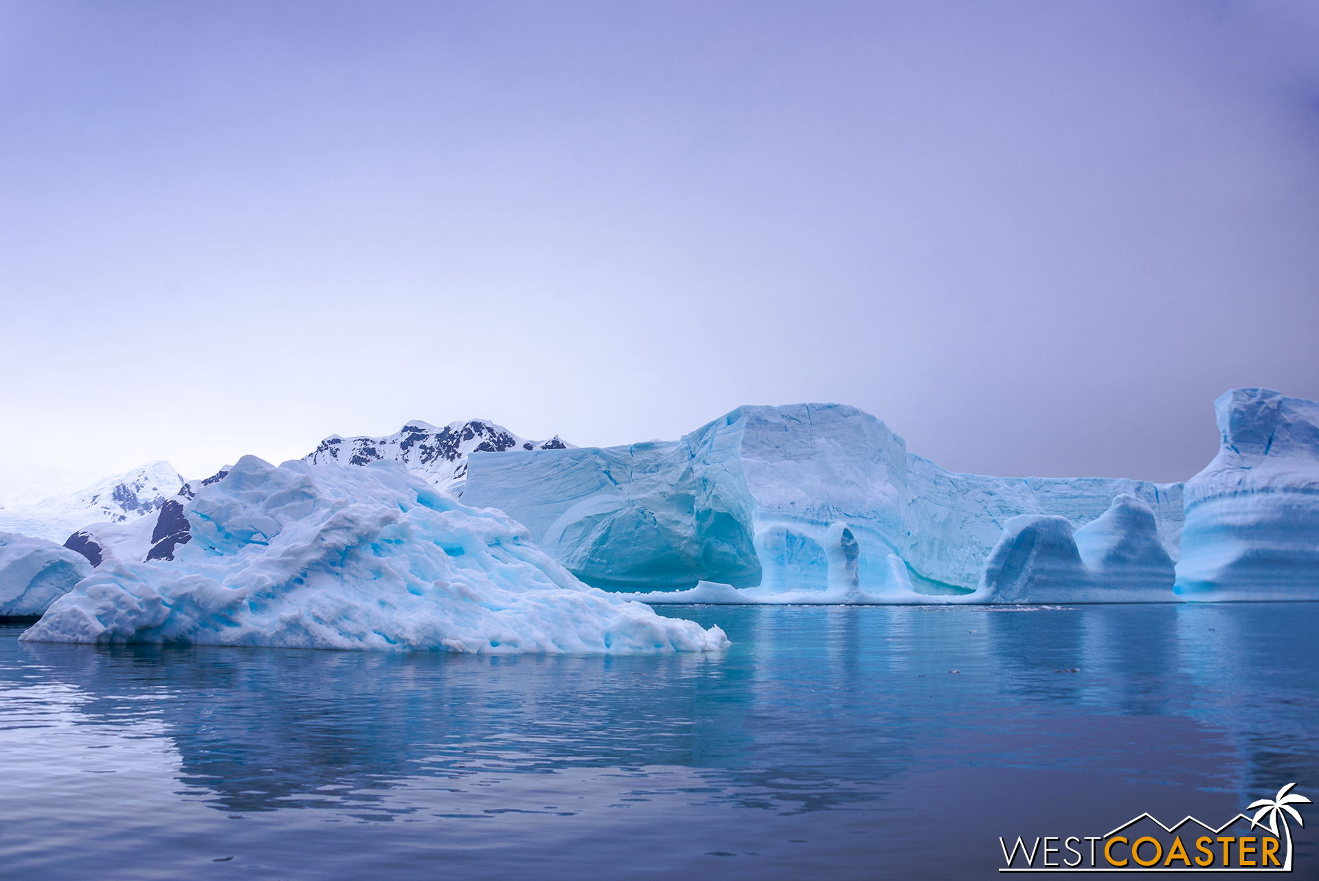 The spectacular and still waters of Pléneau Bay reflect the cool hues of the floating ice all around.