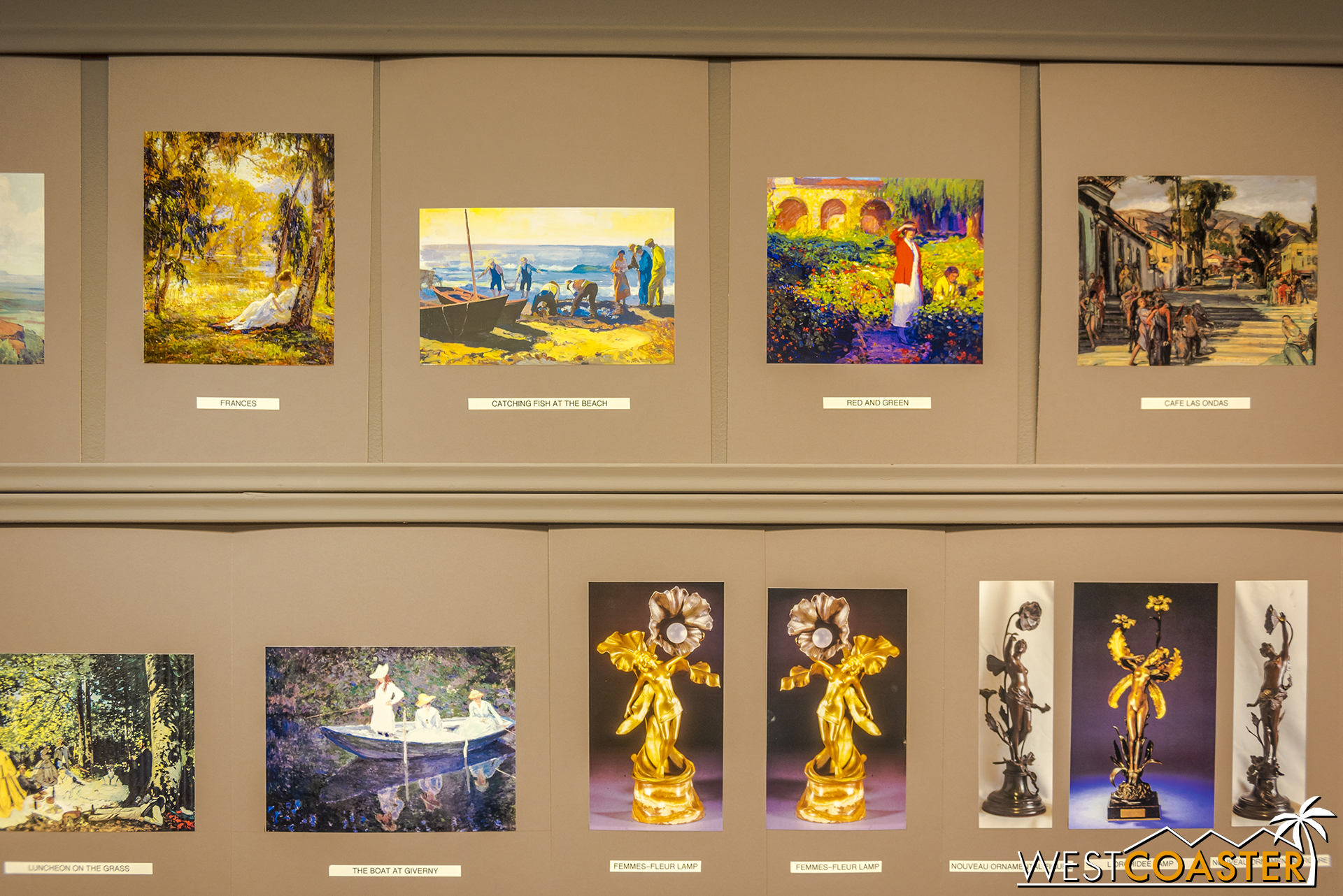 A line of all the paintins being pictured at this year's Pageant of Masters.