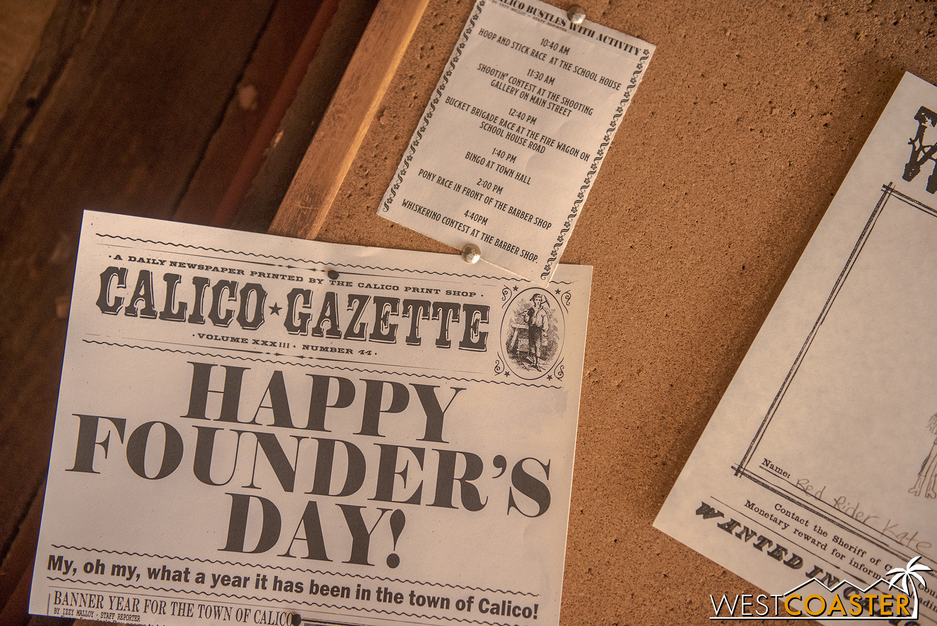 Issues from the fictitious  Calico Gazette  provide updates to the storylines of the day.  There are several published within the course of a single day, and guests may even find their names within the paper!