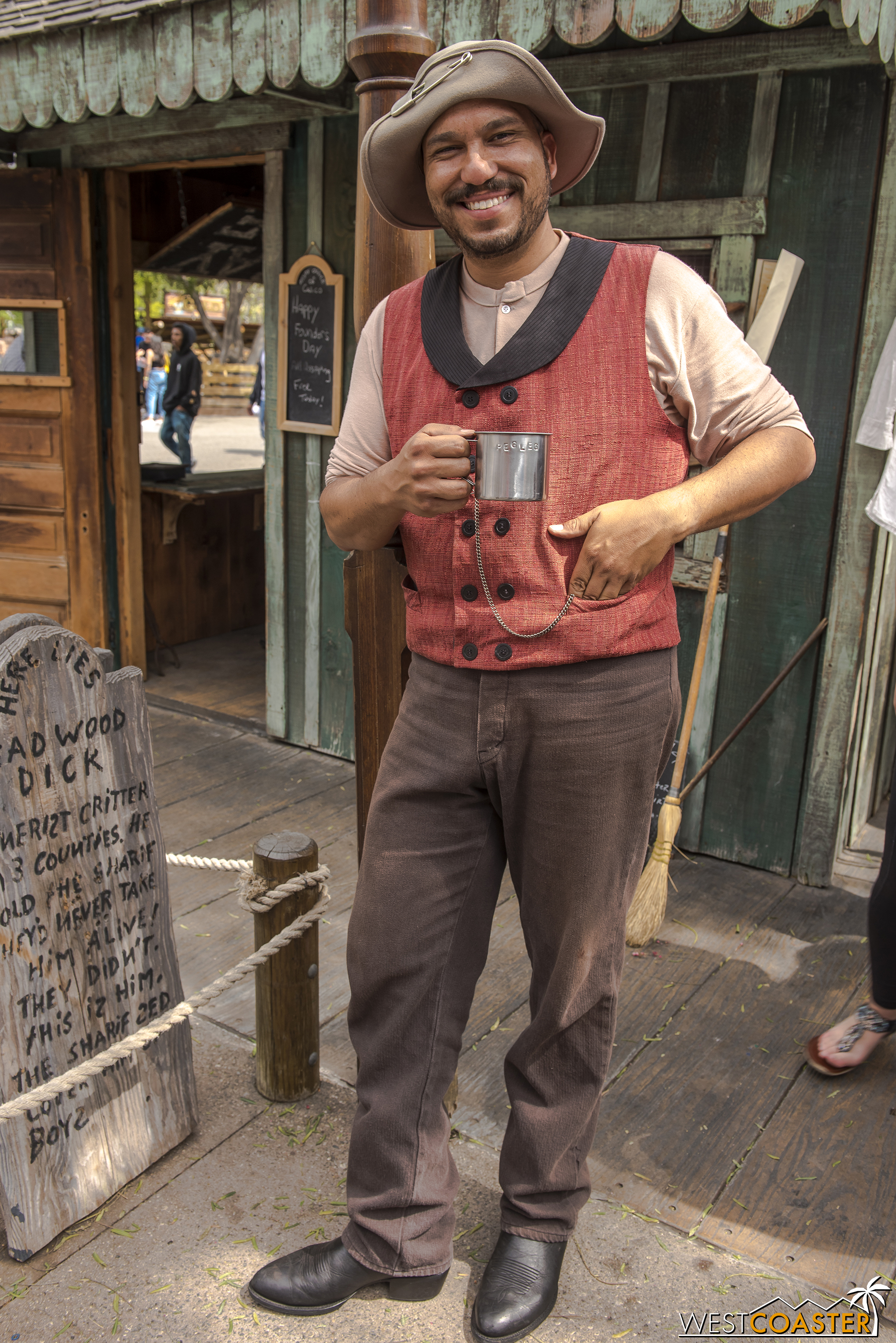 """Joining him most of the time at the Assay Office is """"Peg Leg"""" Cinch, who discovered gold in the Calico Mine at the conclusion of last year's Ghost Town Alive! and owns the largest gold nugget found in these parts.  Apparently, """"Peg Leg"""" is just a nickname and does not reflect the actual status of his limbs!"""