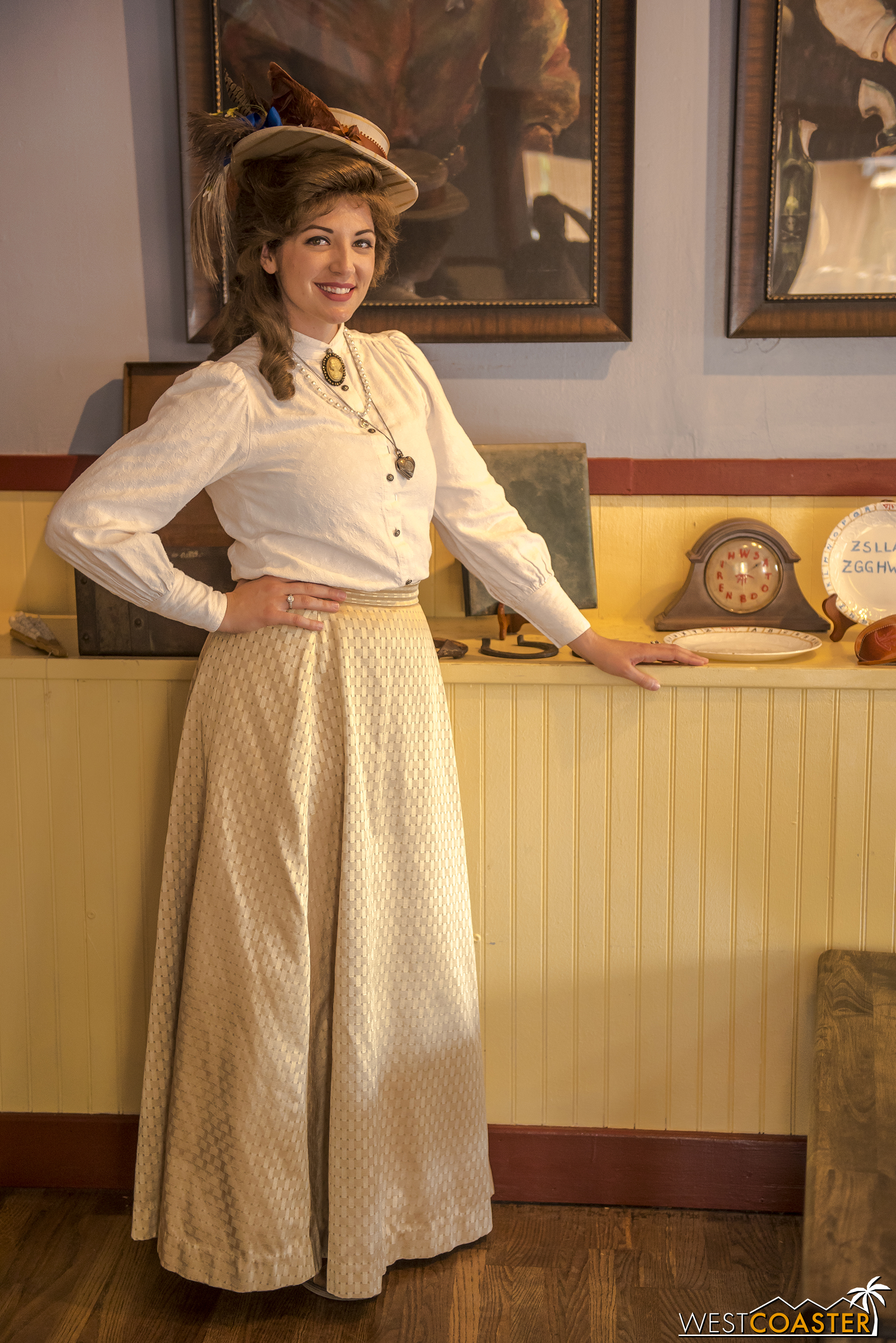 Speaking of which, the lovely Pearl Parnell poses next to some old Calico artifacts delivered earlier in the morning by train.  On this day, her husband, Percy, the mayor, was away on business.  So she functioned as the de facto mayor of Calico.