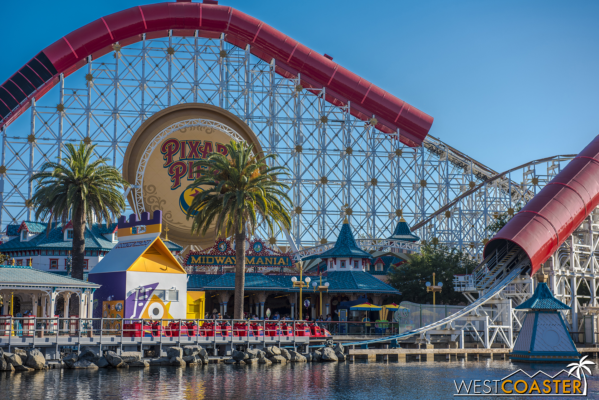 Poultry Palace is most definitely an eyesore along the Pixar Pier waterfront.