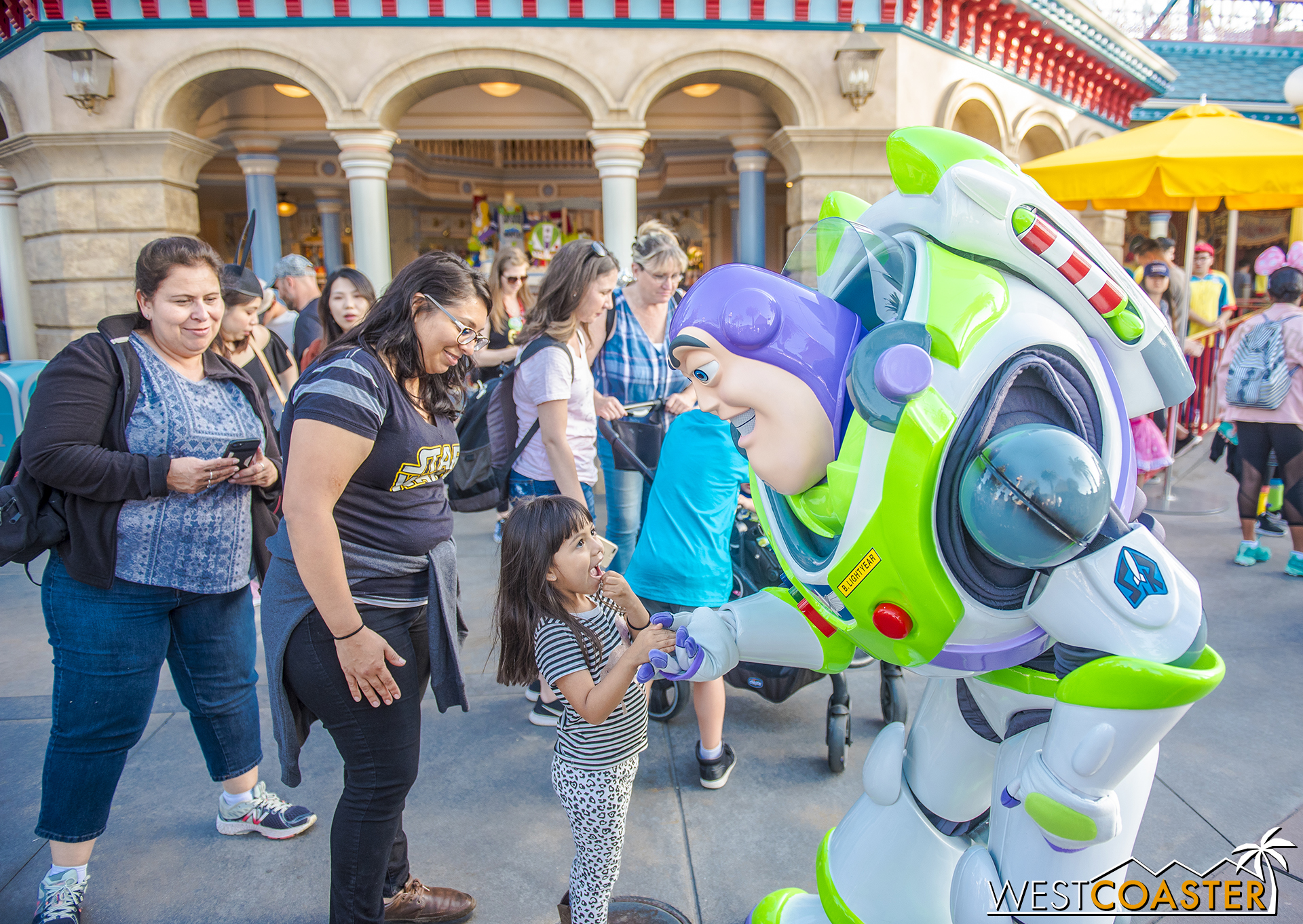 Buzz Lightyear is also out and about, fittingly.