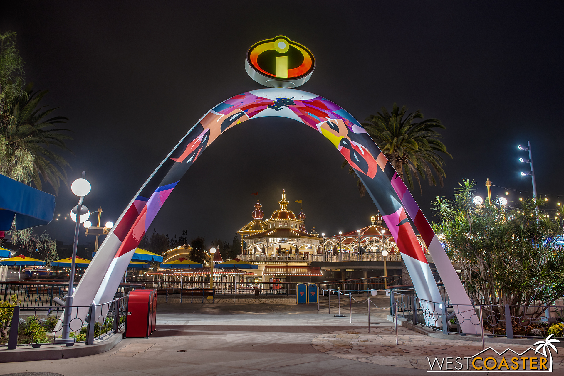 The Incredicoaster entry arch frames Lamplight Lounge nicely when looking the opposite way.